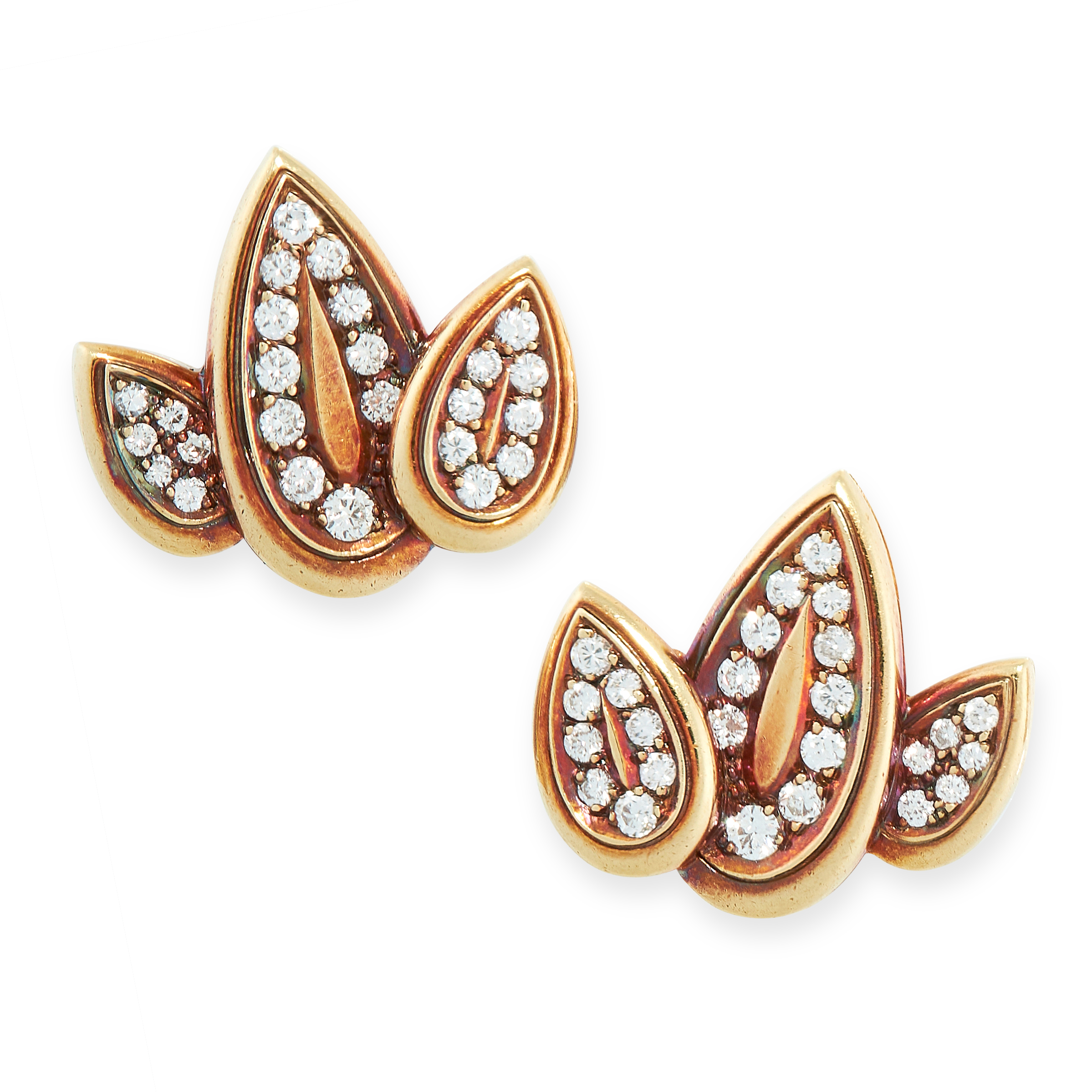 A PAIR OF VINTAGE DIAMOND CLIP EARRINGS in yellow gold, each in the form of a leaf, set with rows of