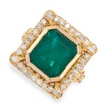 AN EMERALD AND DIAMOND RING in 18ct yellow gold, set with an emerald cut emerald of 5.57 carats,