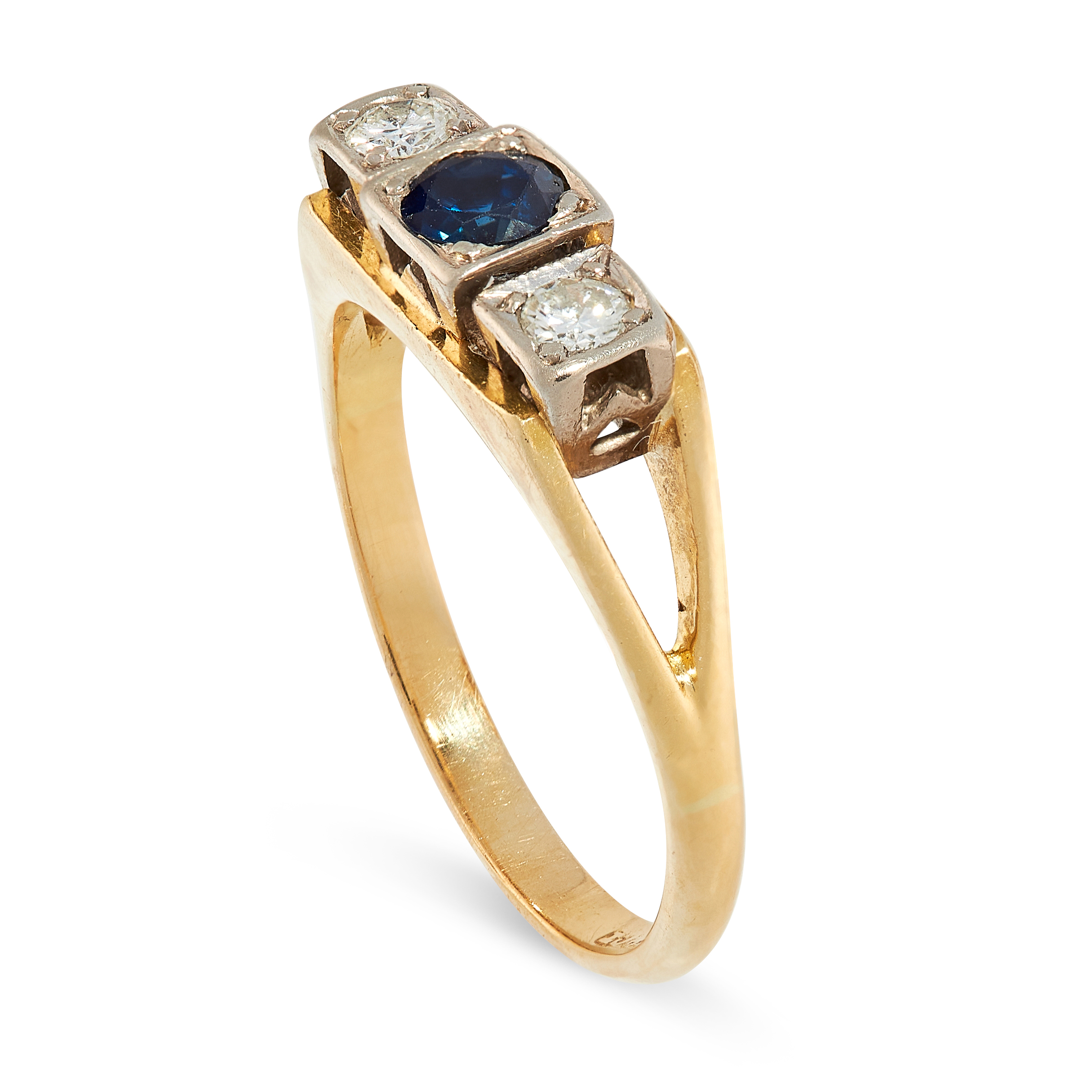 A DIAMOND AND SAPPHIRE RING in 18ct yellow gold, set with a round cut sapphire between two round cut - Image 2 of 2