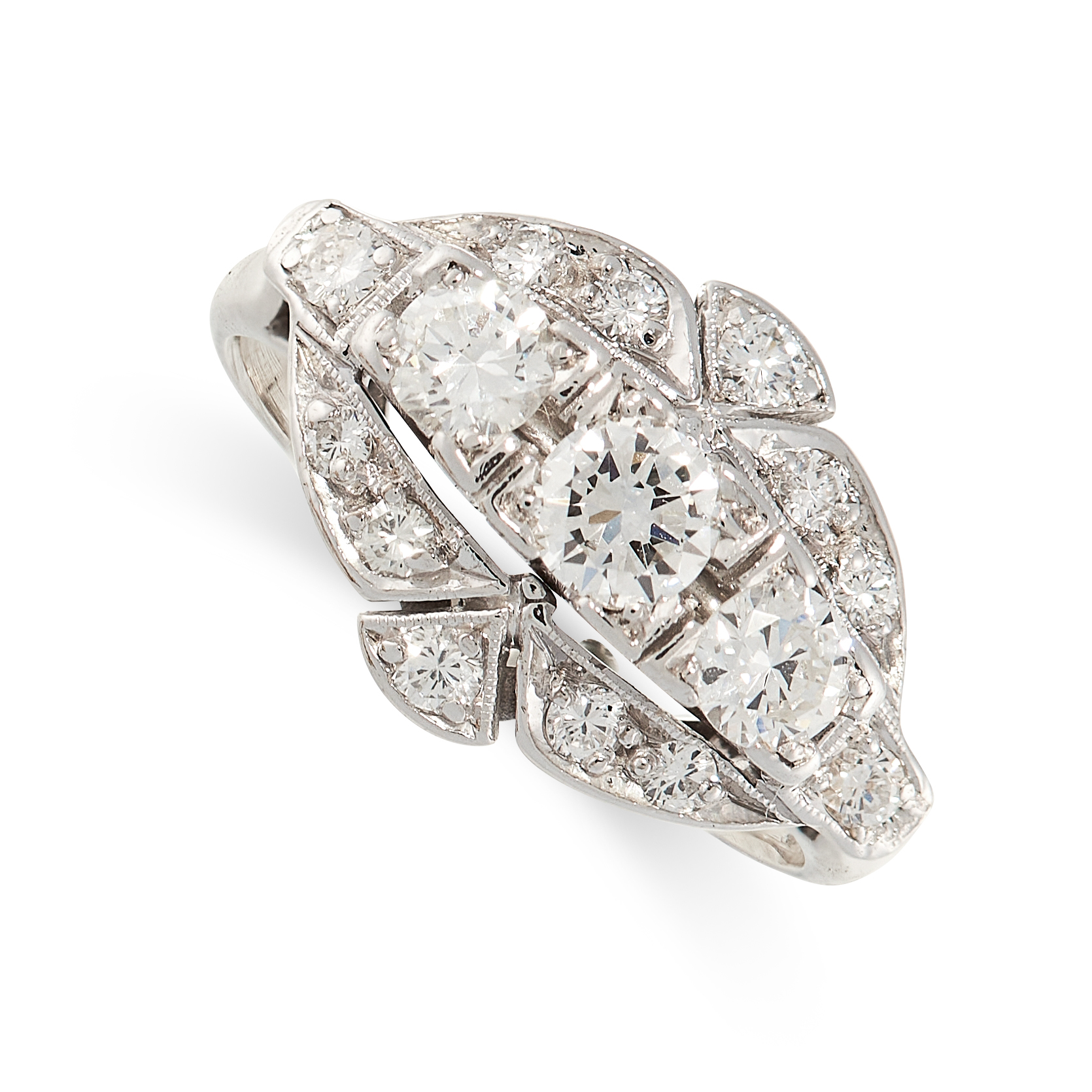 A DIAMOND DRESS RING the navette shaped face set with a trio of principal round cut diamonds