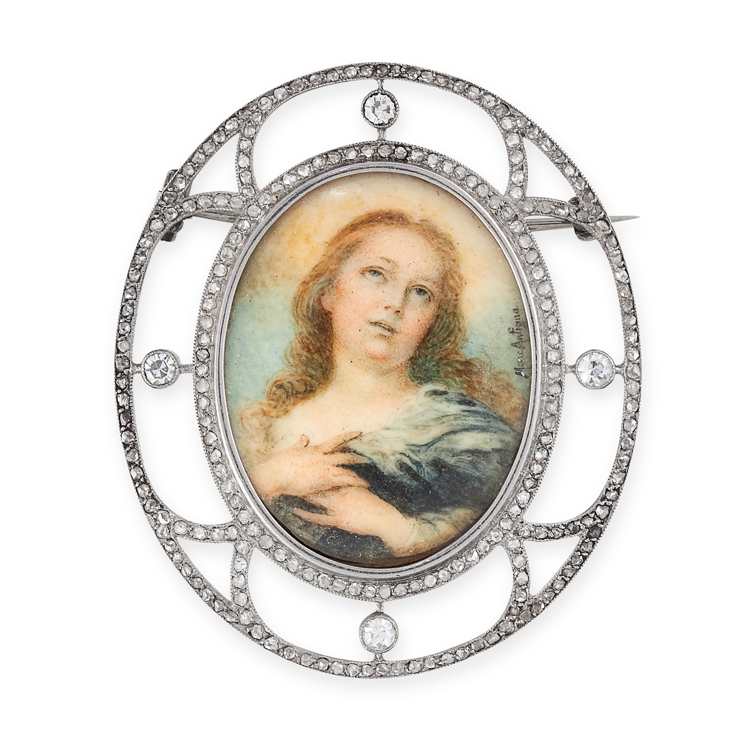 AN ANTIQUE PAINTED MINIATURE AND DIAMOND BROOCH, ATTR LACLOCHE FRERES in platinum, set to the centre