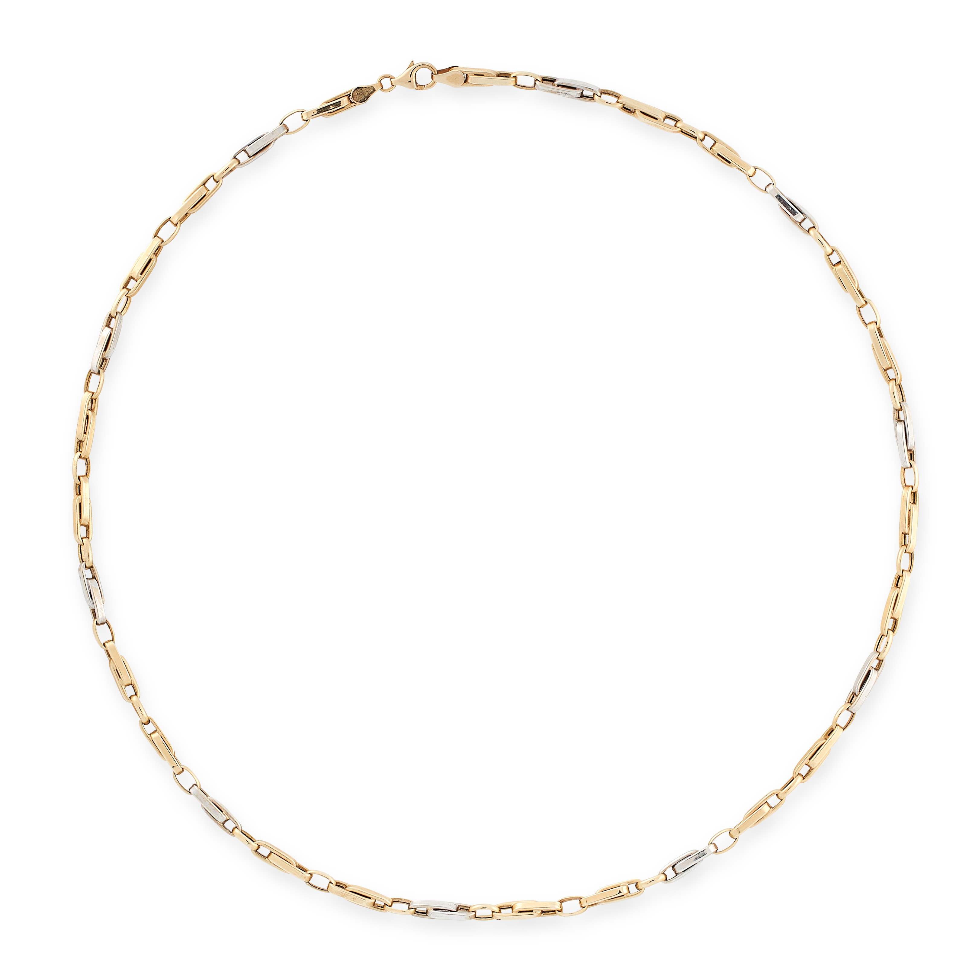 A FANCY LINK CHAIN NECKLACE in 14ct yellow gold and white gold, formed of alternating white and