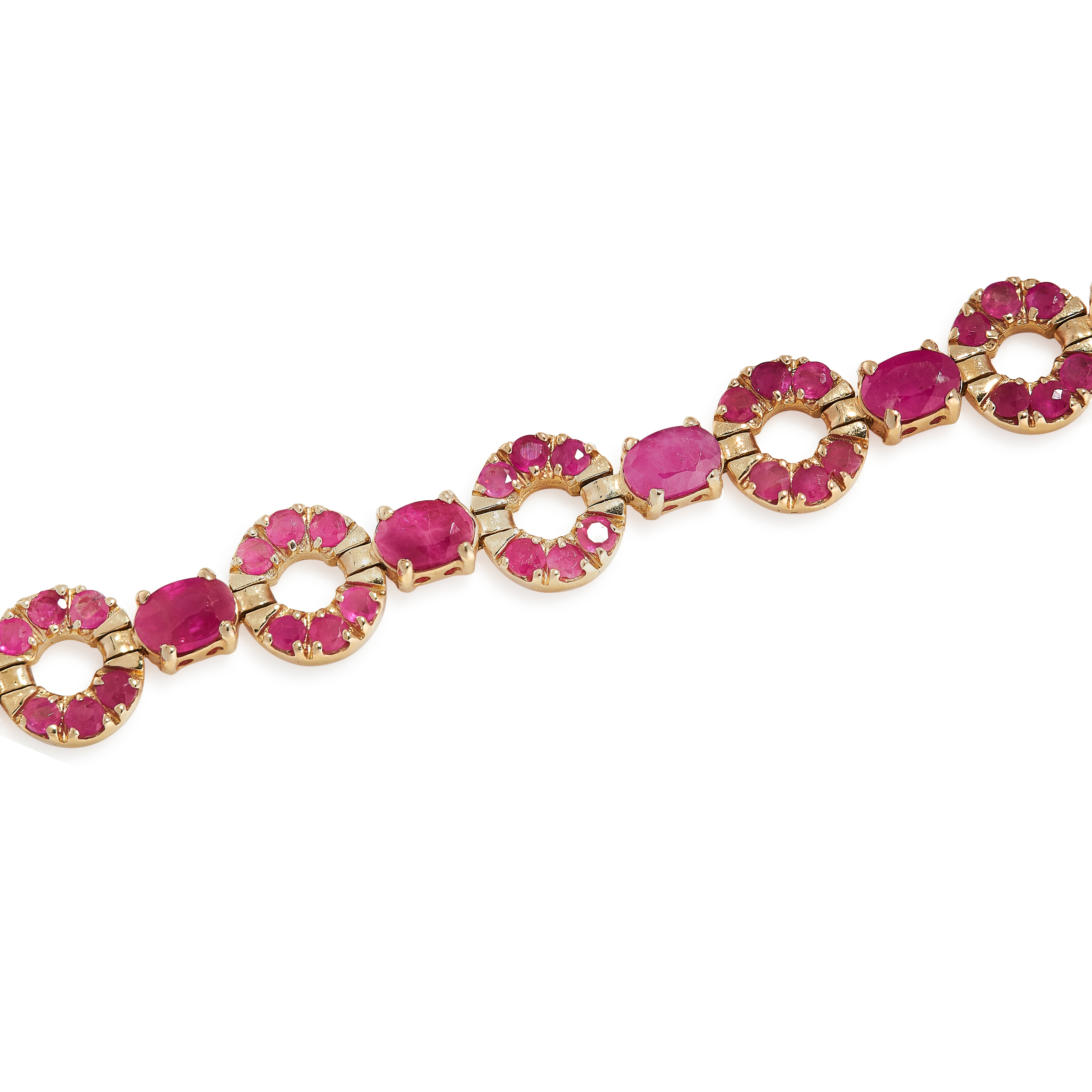 A RUBY BRACELET in 14ct yellow gold, designed as an articulated line of annular links pave set - Image 2 of 2