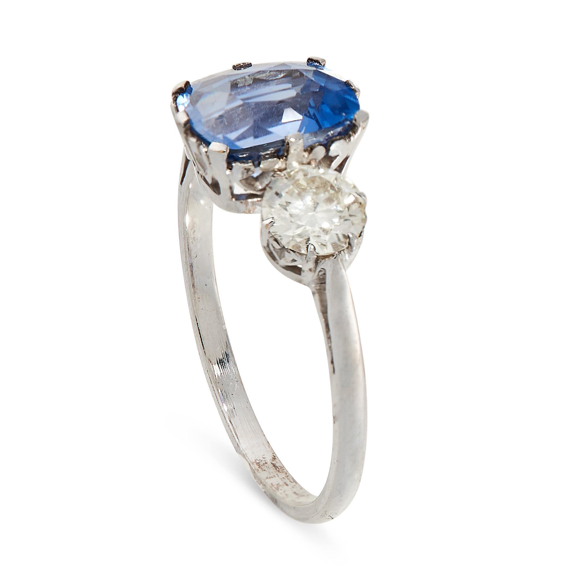 AN UNHEATED SAPPHIRE AND DIAMOND THREE STONE RING set with a cushion cut blue sapphire of 2.43 - Image 2 of 2
