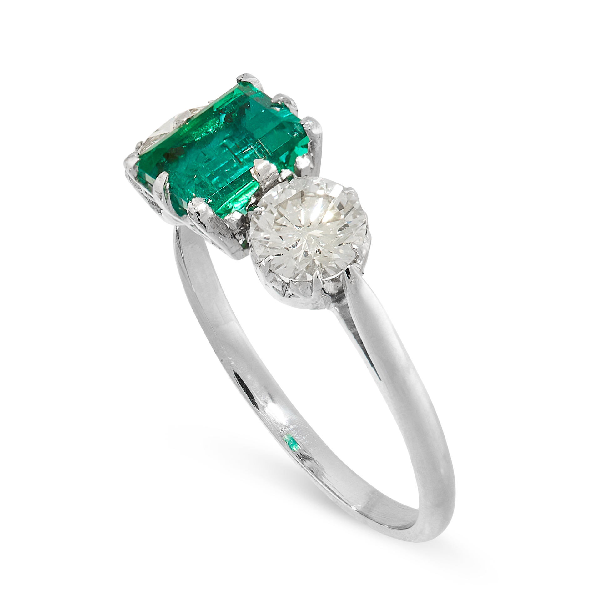 AN EMERALD AND DIAMOND DRESS RING set with a rectangular step cut emerald of 1.19 carats, between - Image 2 of 2
