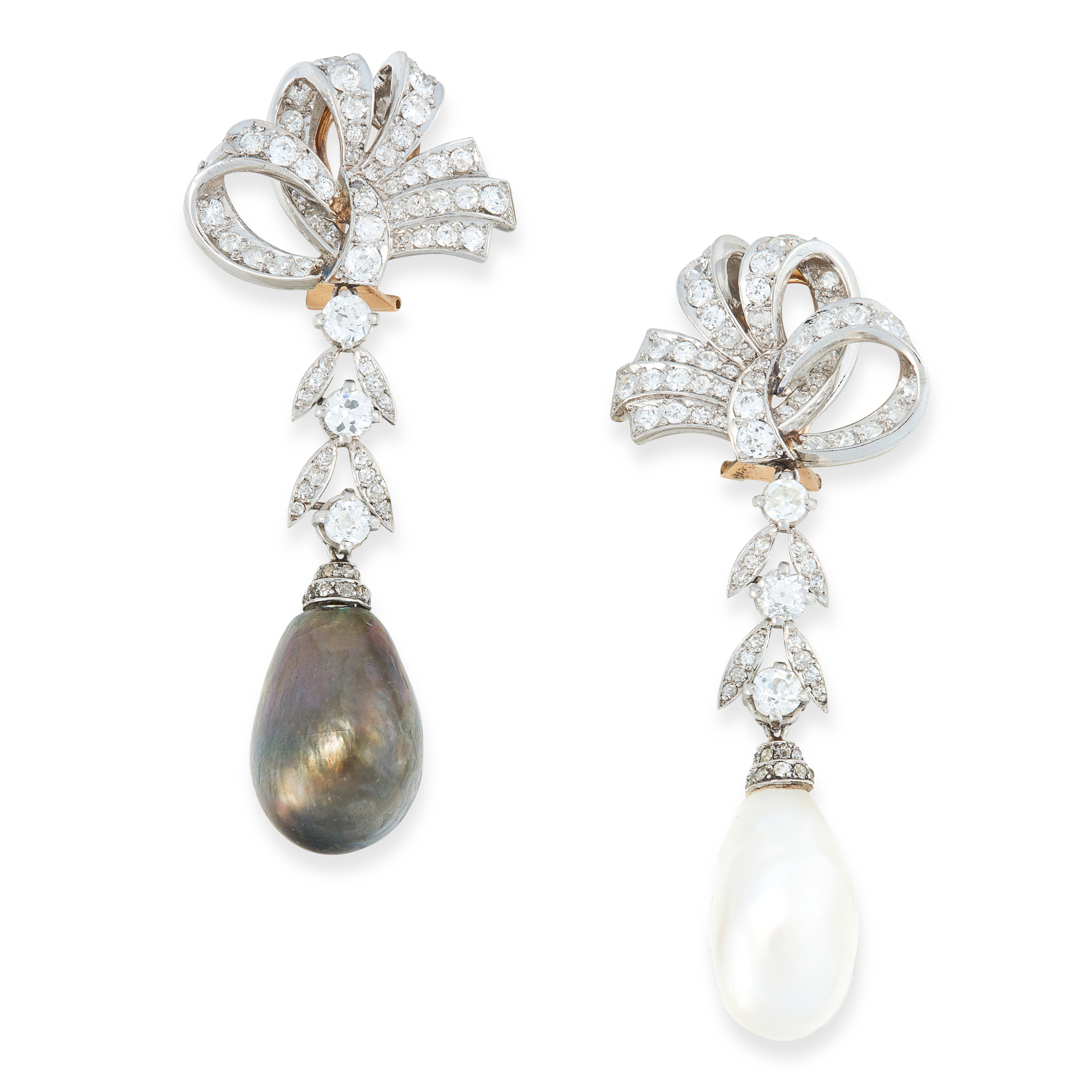 A PAIR OF PEARL AND DIAMOND EARRINGS composed of a ribbon scroll surmount, to articulated foliate