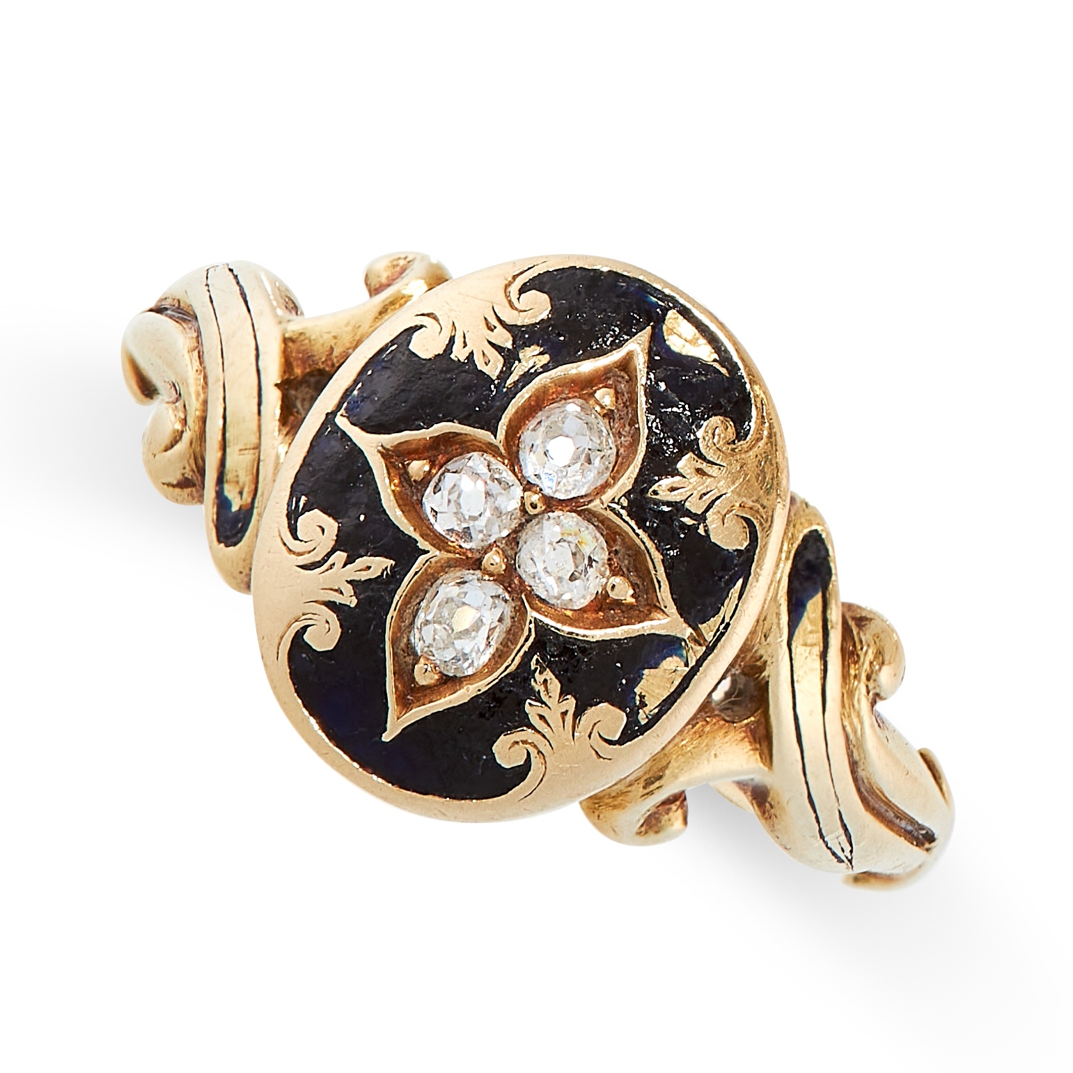 AN ANTIQUE ENAMEL AND DIAMOND RING, 19TH CENTURY in yellow gold, the oval face set with four old cut