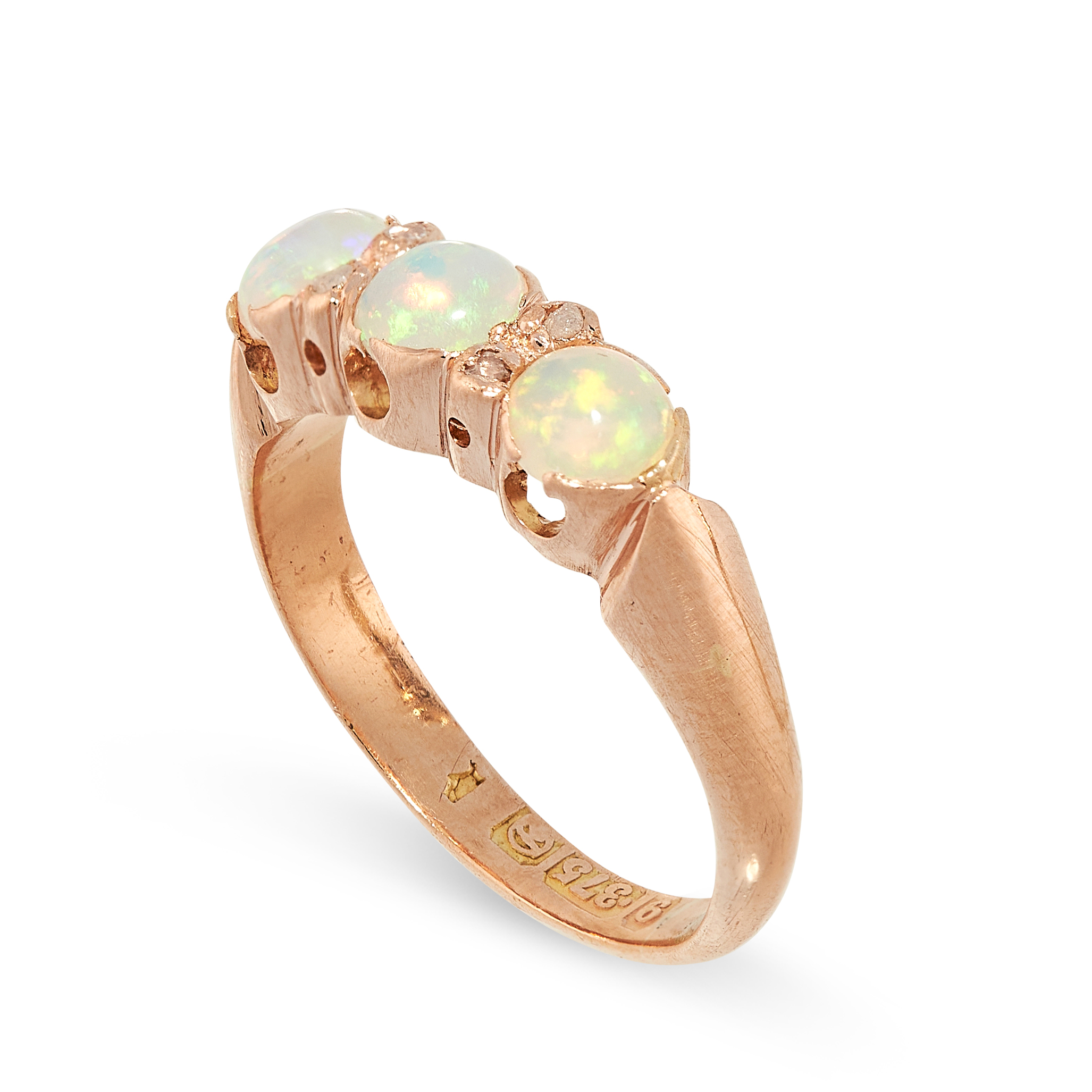 AN OPAL AND DIAMOND DRESS RING, CIRCA 1930 in yellow gold, set with a trio of graduated circular - Image 2 of 2