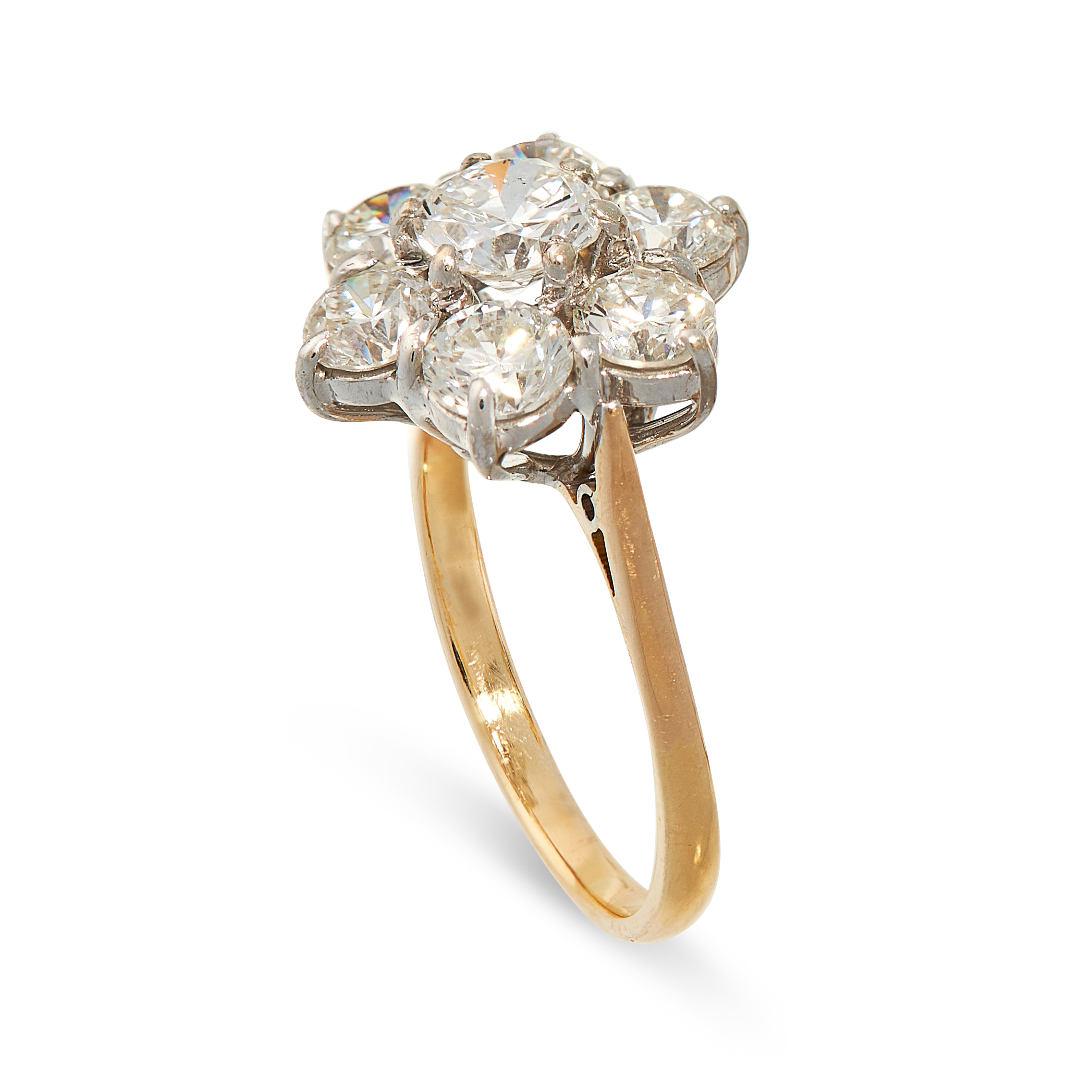 A DIAMOND CLUSTER RING in 18ct yellow gold, set with a principal round cut diamond of 0.61 carats, - Image 2 of 2