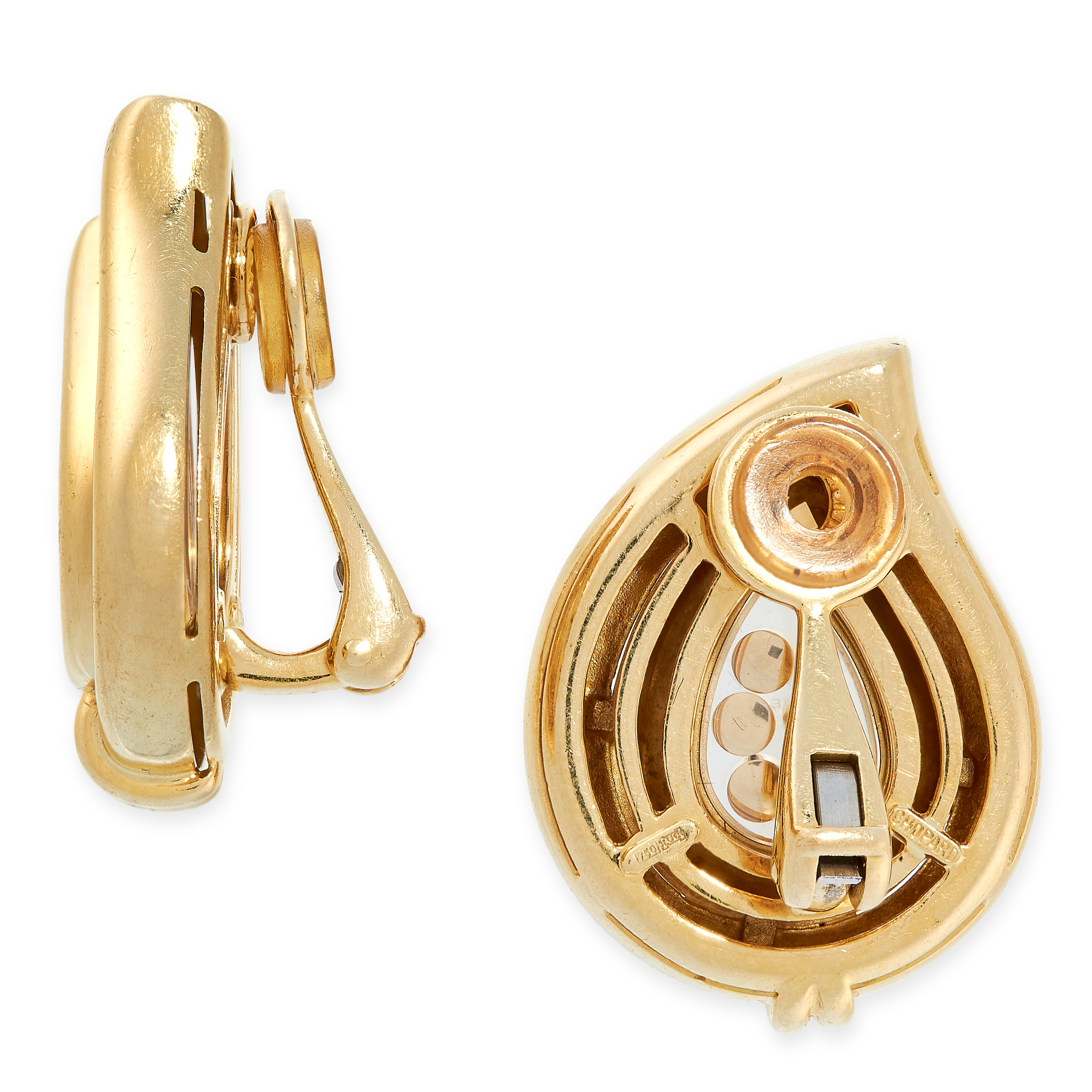 A PAIR OF HAPPY DIAMOND CLIP EARRINGS, CHOPARD in 18ct yellow gold, of drop shaped design, each - Image 2 of 2