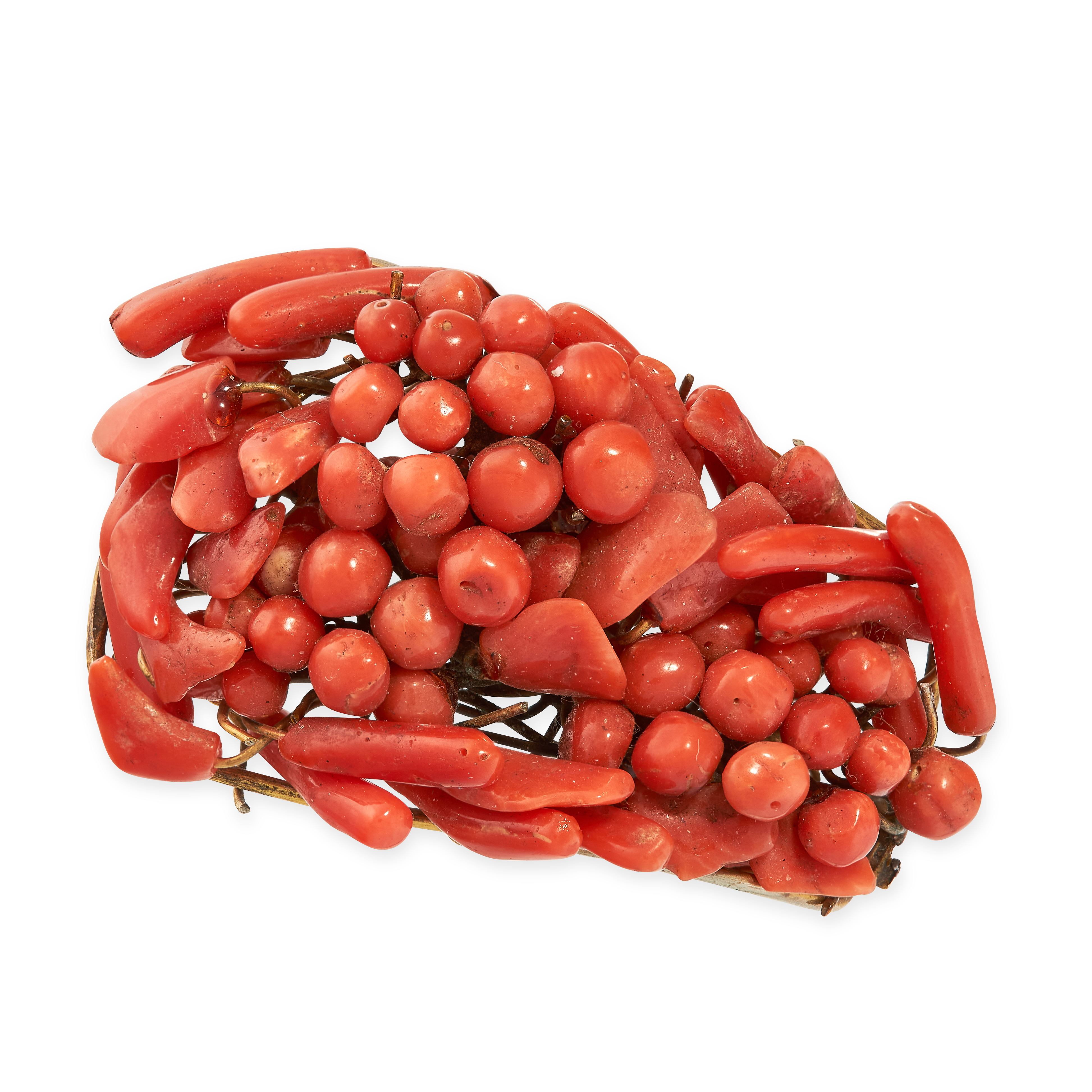 AN ANTIQUE CORAL HAIR ORNAMENT / CLIP the body set with coral beads and coral twigs, no assay marks,