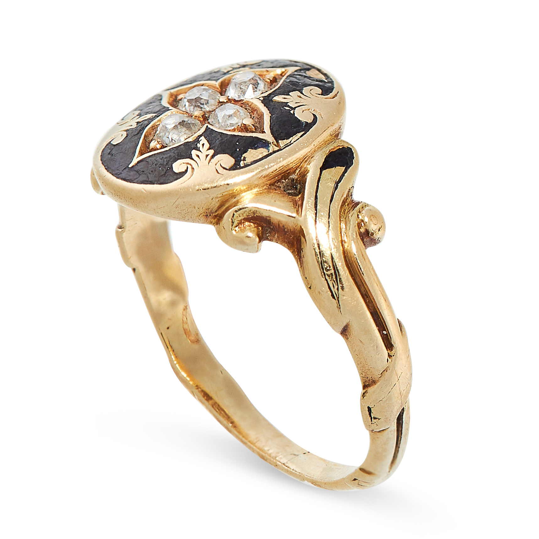 AN ANTIQUE ENAMEL AND DIAMOND RING, 19TH CENTURY in yellow gold, the oval face set with four old cut - Image 2 of 2