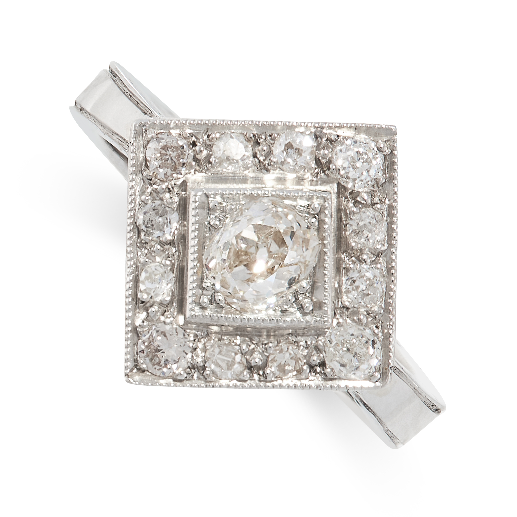 A DIAMOND DRESS RING the square face set with a central old cut diamond of 0.56 carats, within a