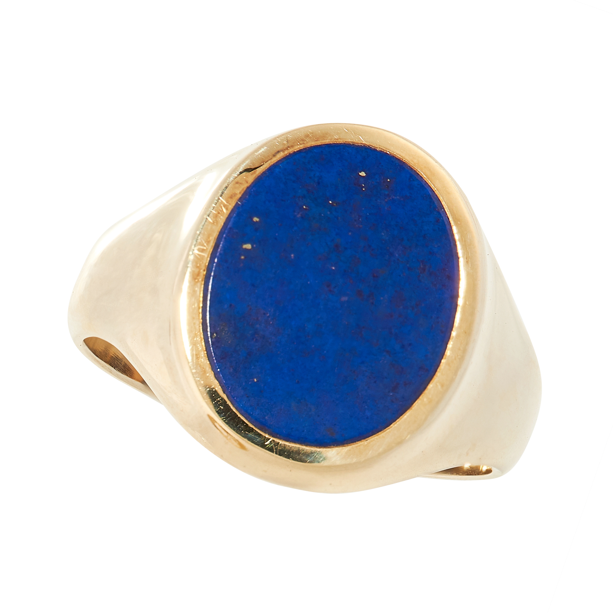 A LAPIS LAZULI SIGNET RING in yellow gold, the tapered band set with a polished oval piece of