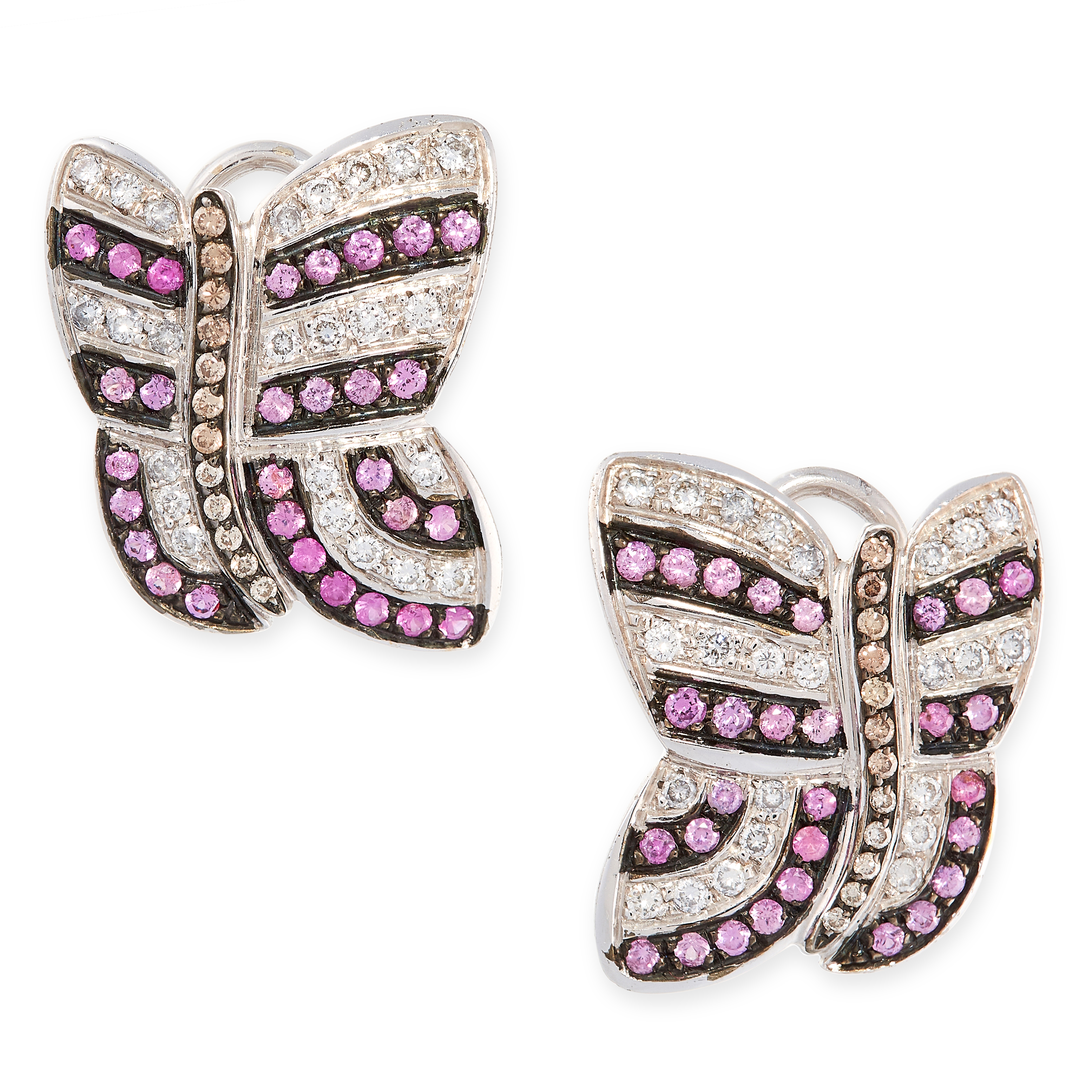 A PAIR OF RUBY AND DIAMOND CLIP EARRINGS, GAVELLO in 18ct white gold, each designed as a
