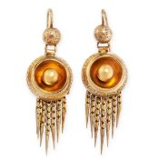 A PAIR OF ANTIQUE TASSEL EARRINGS, 19TH CENTURY in yellow gold, in the Etruscan revival manner,