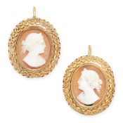 A PAIR OF ANTIQUE CAMEO EARRINGS in yellow gold, in the Etruscan revival manner, each set with an
