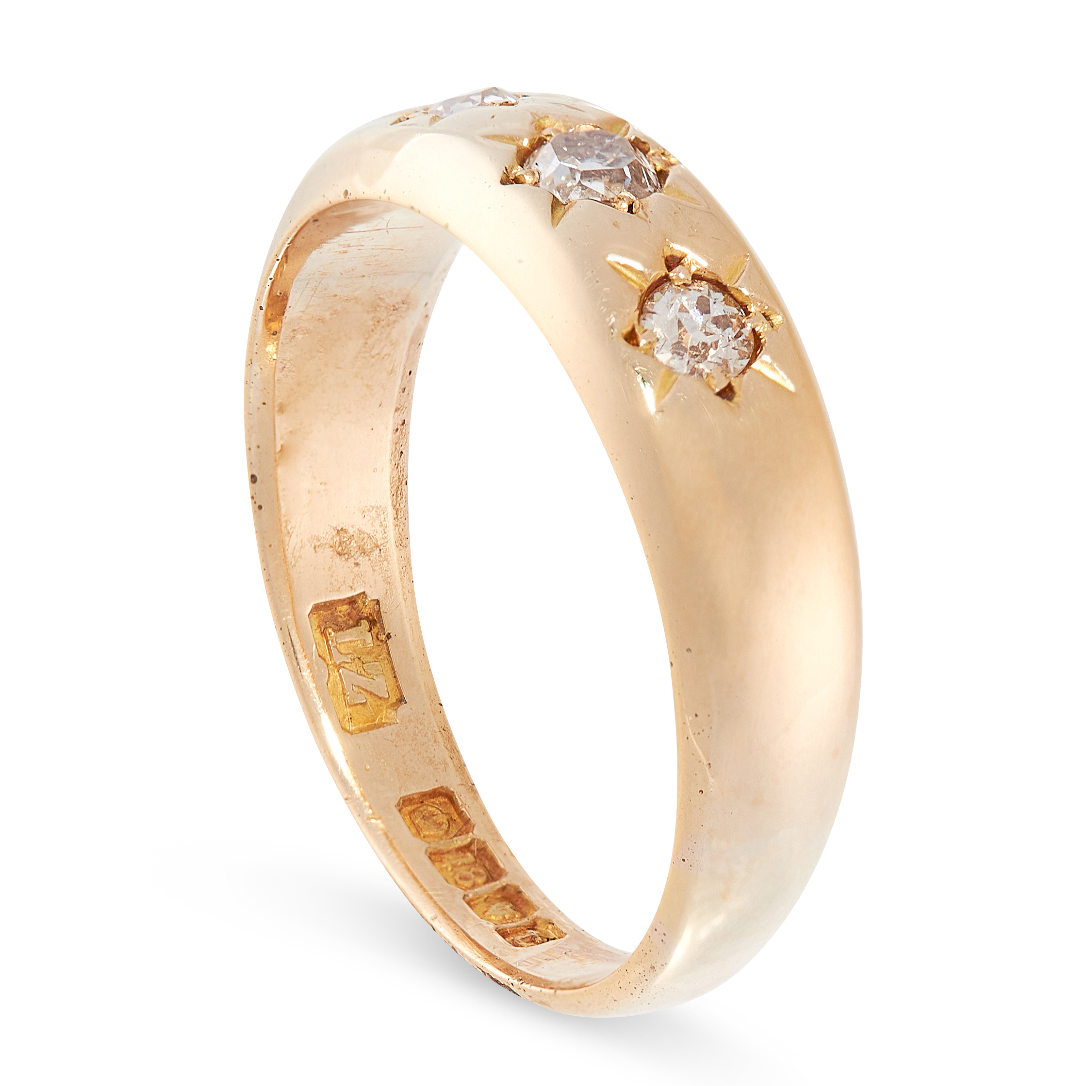 AN ANTIQUE DIAMOND GYPSY RING, 1914 in 18ct yellow gold, set with three old cut diamonds, full - Image 2 of 2