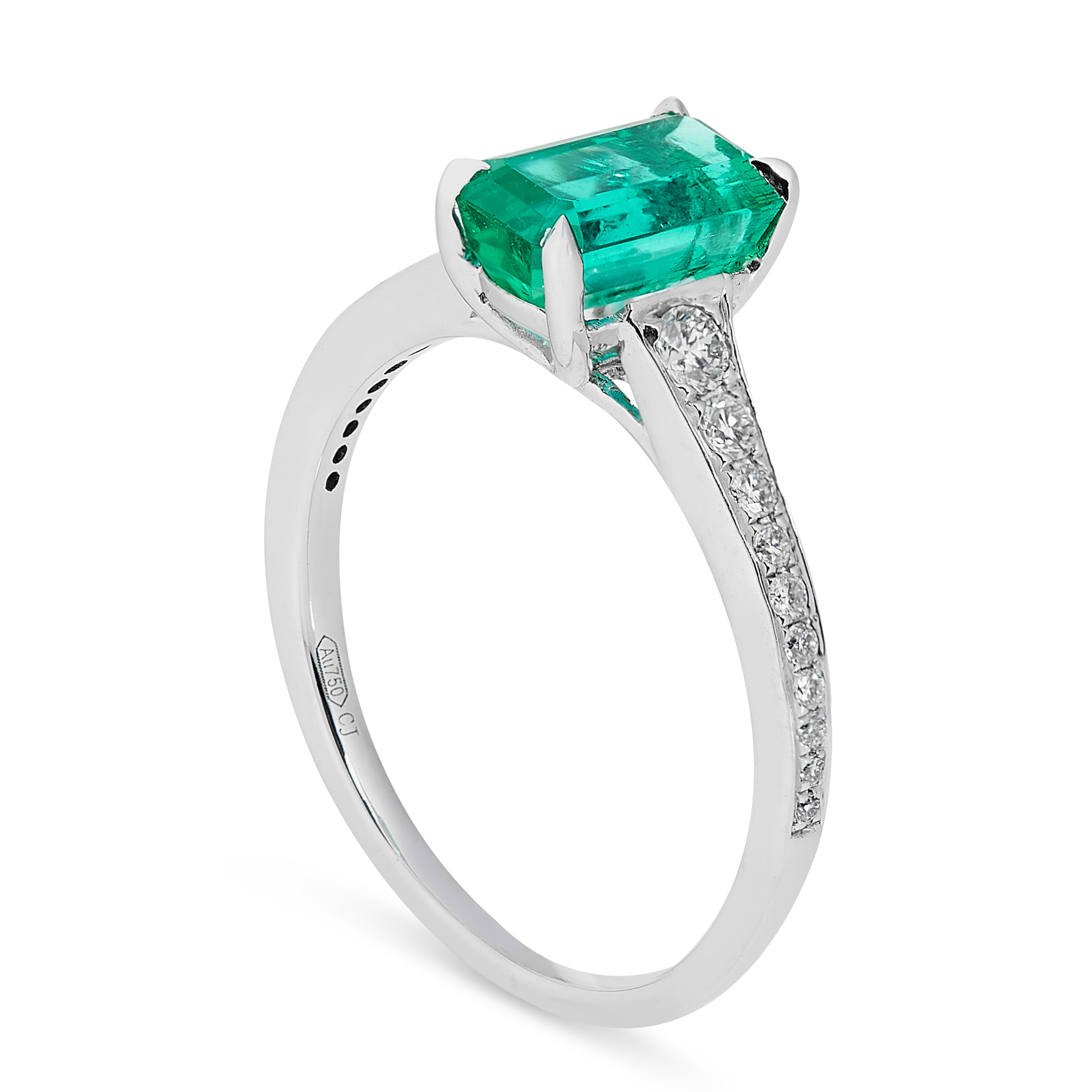 A COLOMBIAN EMERALD AND DIAMOND RING in 18ct white gold, set with an emerald cut emerald of 1.42 - Image 2 of 2