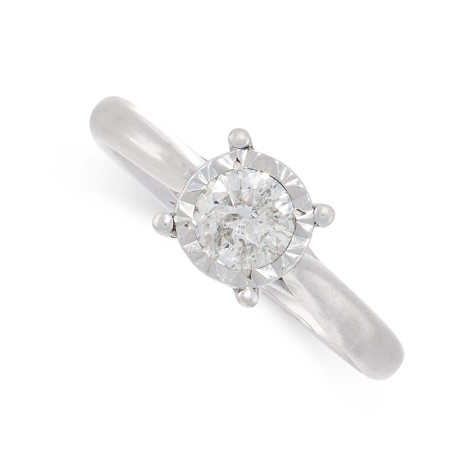 A DIAMOND SOLITAIRE in 9ct white gold, set with a round cut diamond of 0.40 carats, British