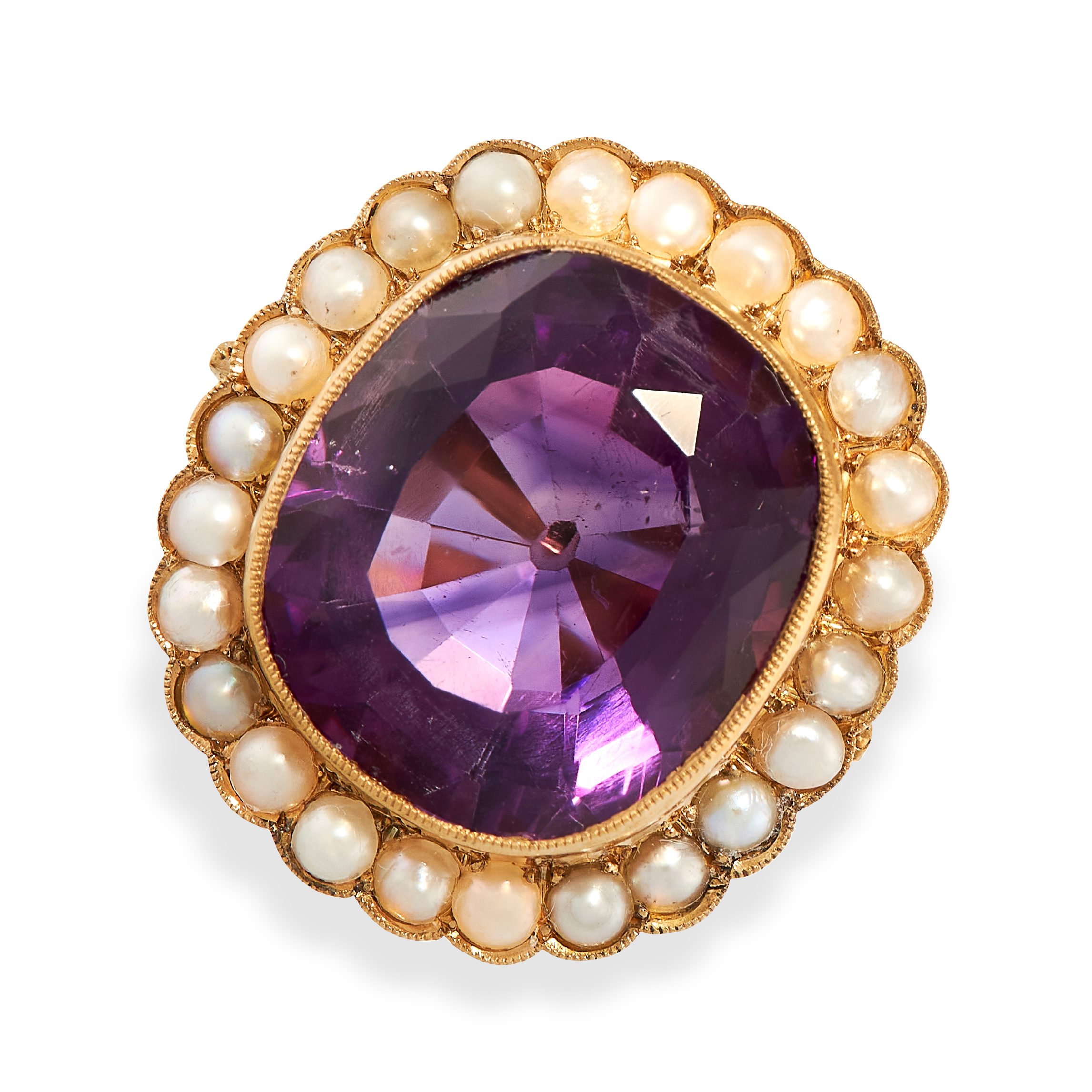 AN ANTIQUE AMETHYST AND PEARL RING, 19TH CENTURY AND LATER in yellow gold, set with a large