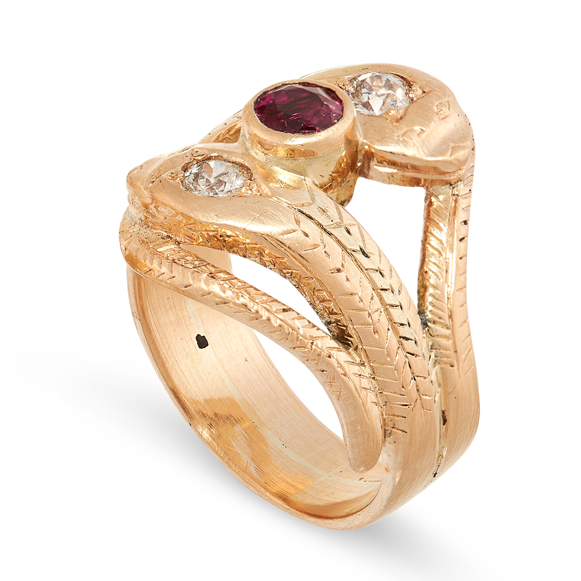 A RUBY AND DIAMOND SNAKE RING in yellow gold, the band designed as two snakes, coiled around each - Image 2 of 2