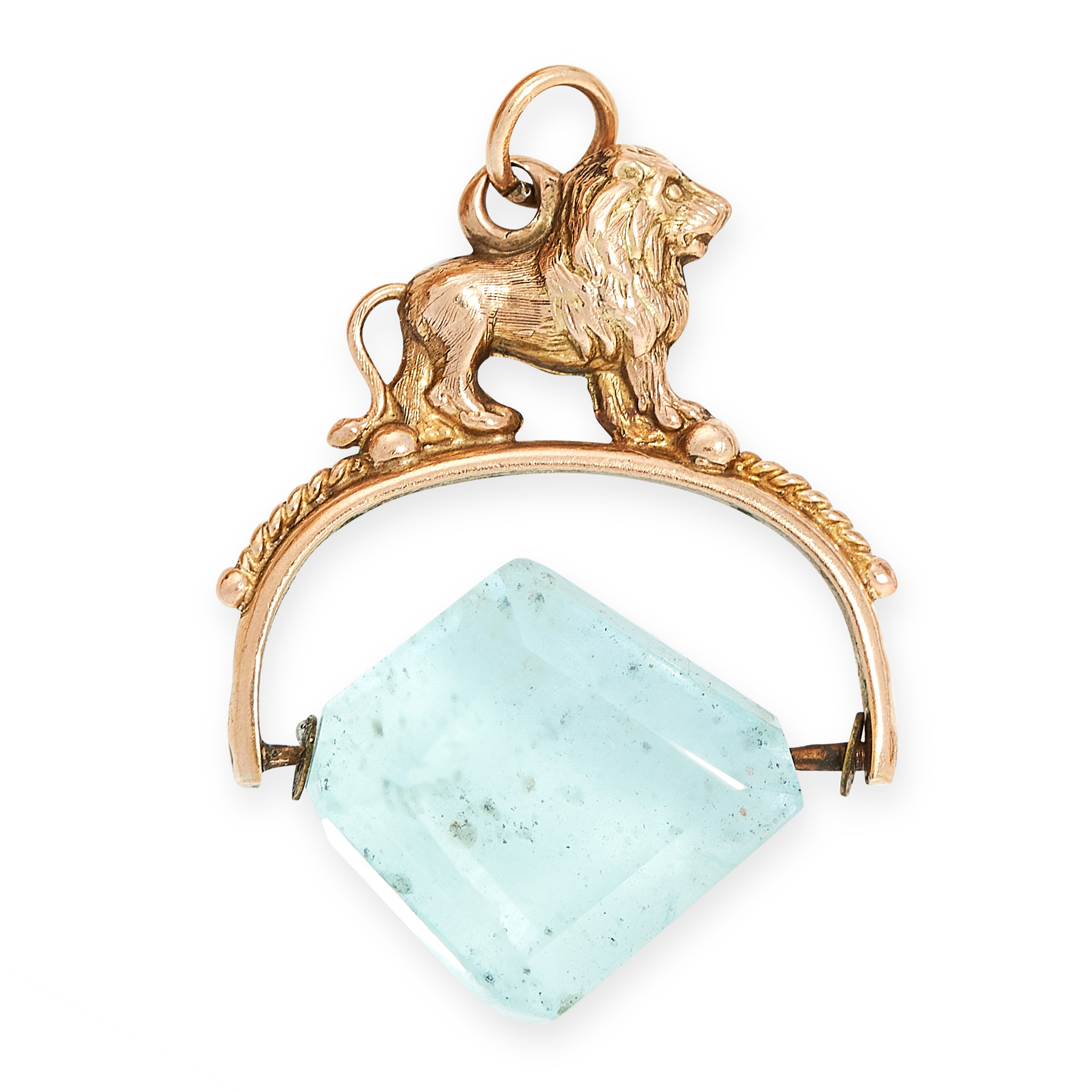AN AQUAMARINE FOB PENDANT in yellow gold, set with a polished aquamarine crystal of 31.13 carats,