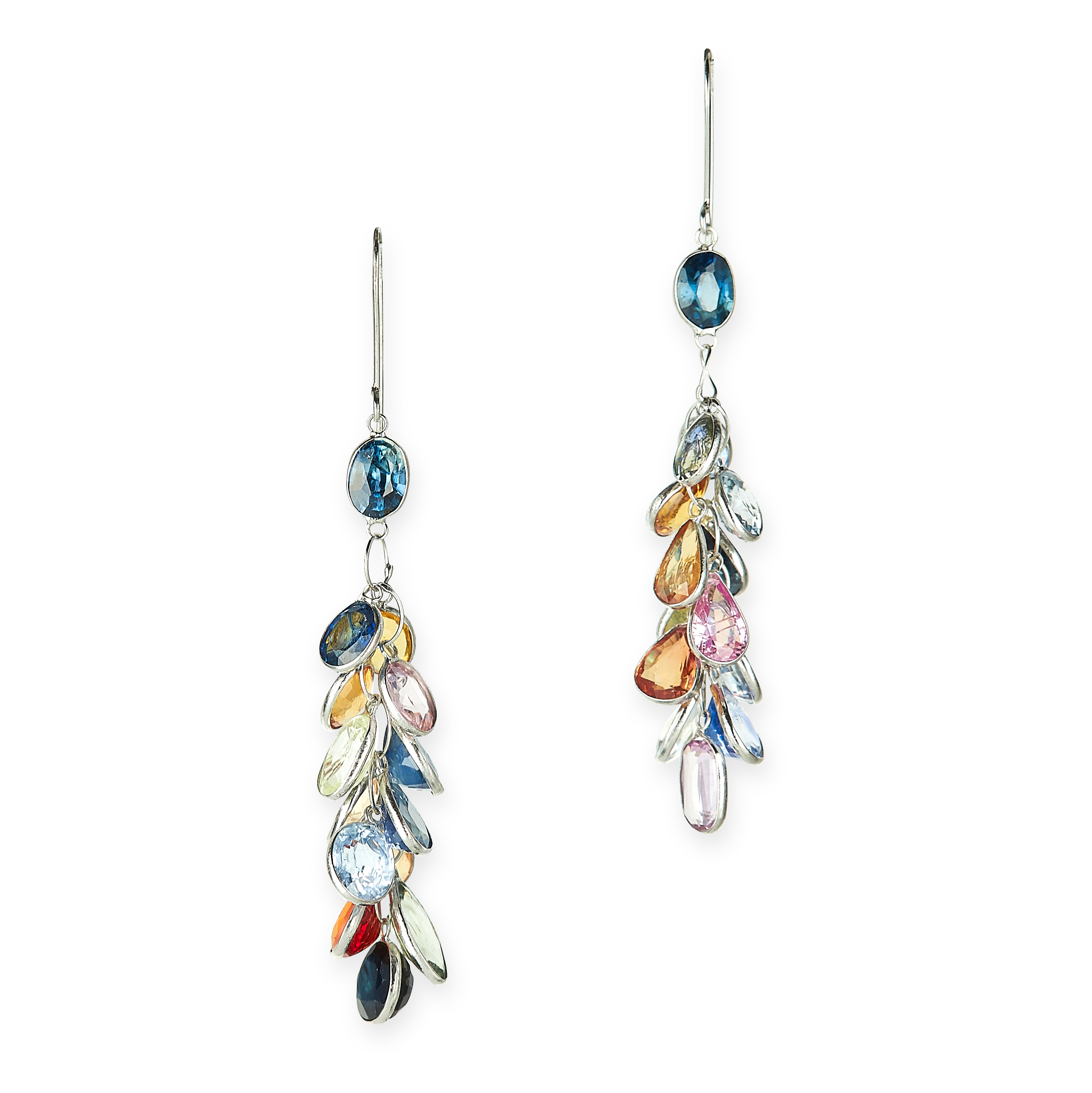 A PAIR OF MULTICOLOUR SAPPHIRE EARRINGS each suspending a series of bezel set sapphires of various
