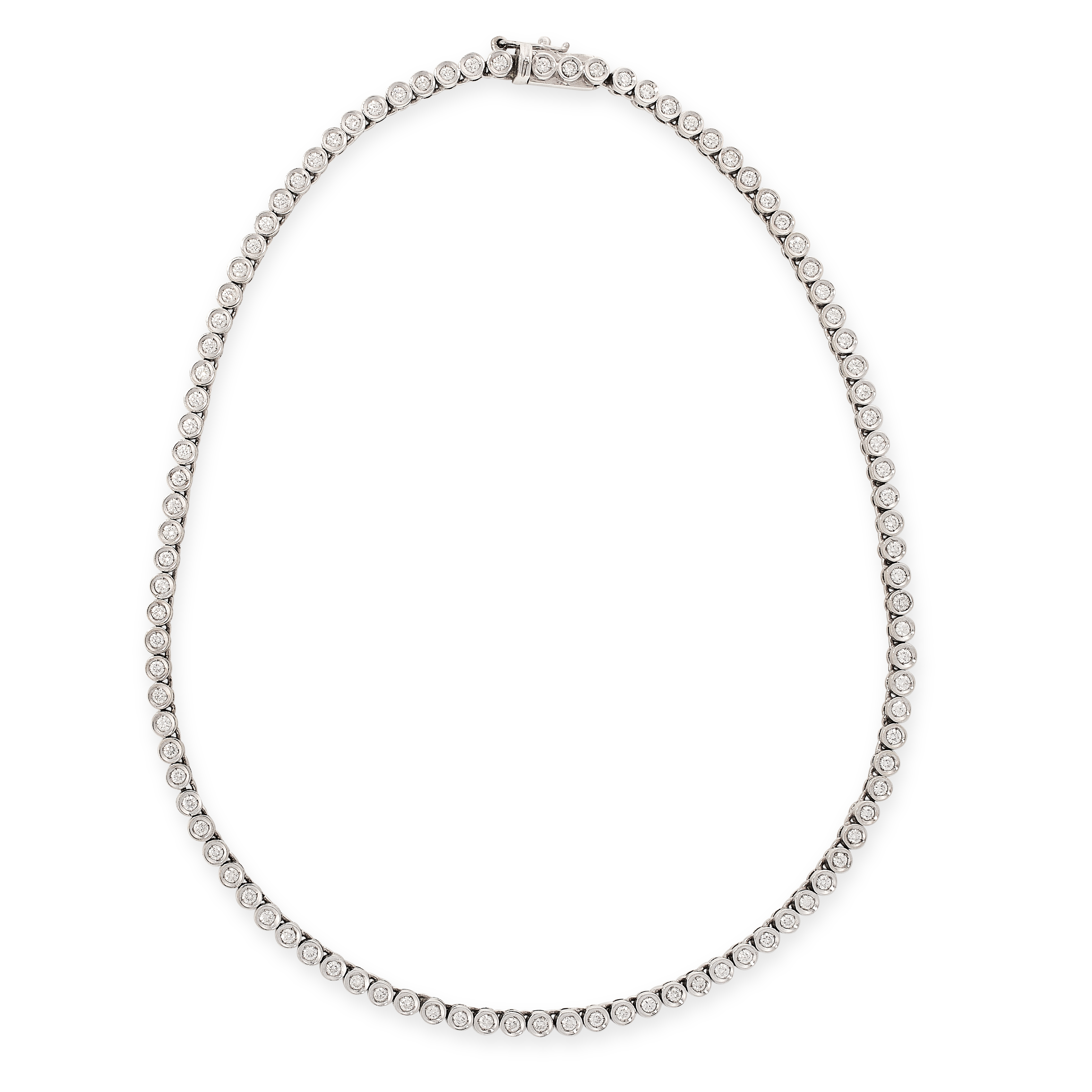 A DIAMOND LINE NECKLACE in 18ct white gold, comprising of a single row of round cut diamonds, the
