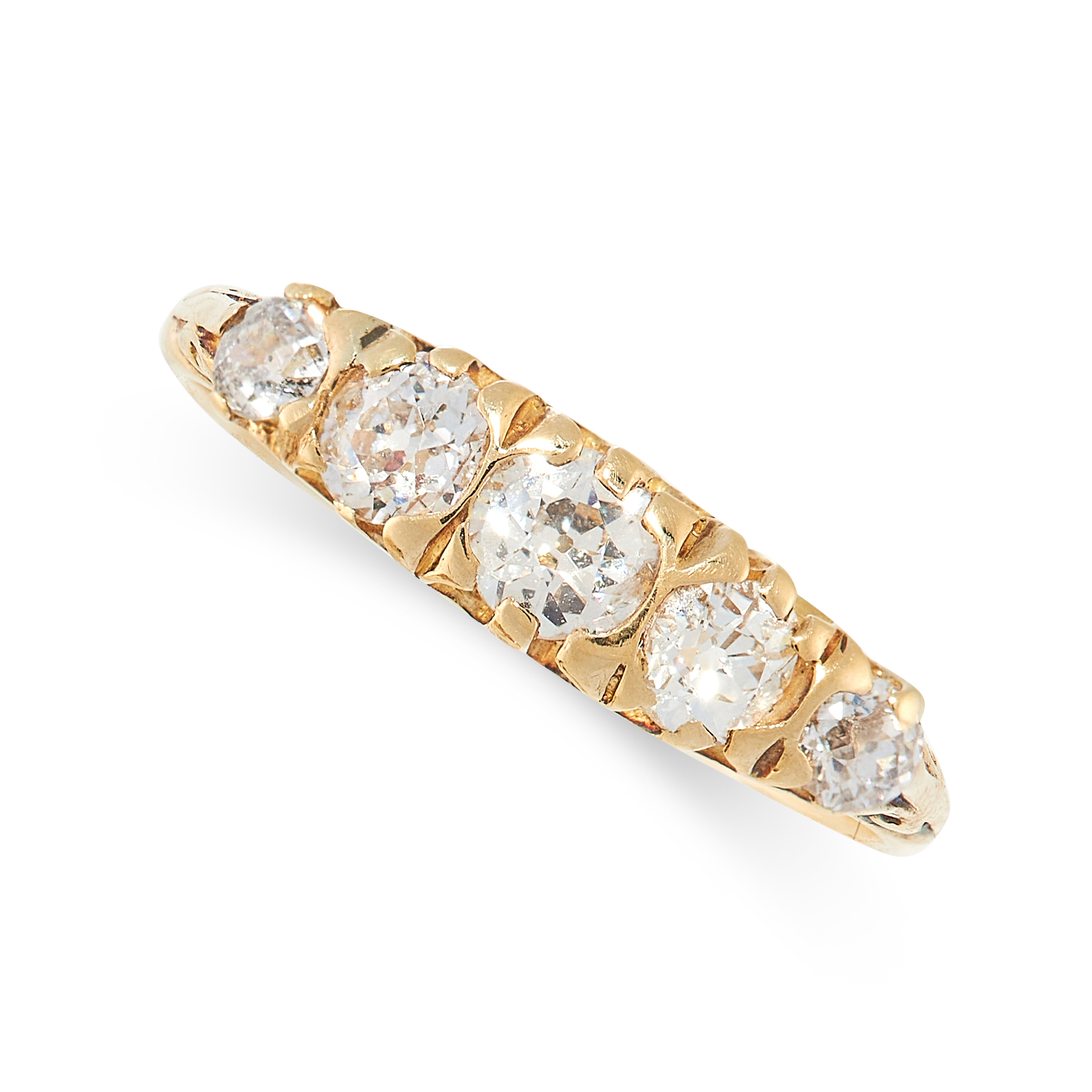 A DIAMOND FIVE STONE RING in 18ct yellow gold, set with five graduated old cut diamonds, British