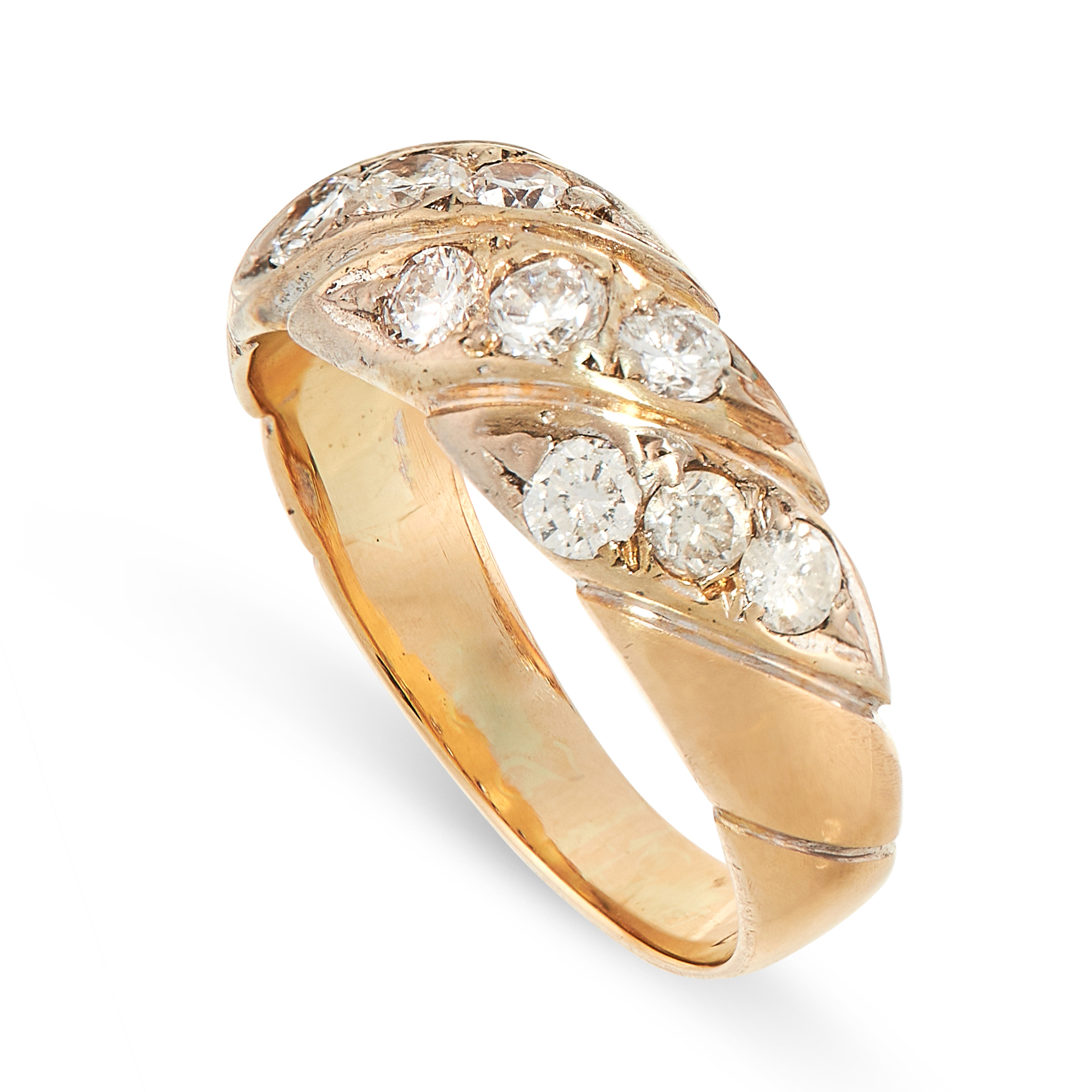 A VINTAGE DIAMOND DRESS RING in yellow gold, the tapered band set with rows of round cut diamonds, - Image 2 of 2