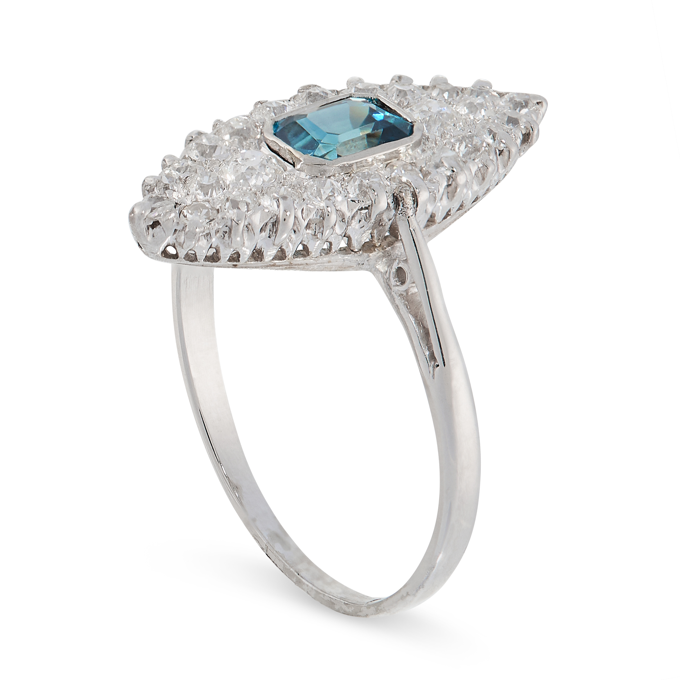 A BLUE ZIRCON AND DIAMOND RING the navette shaped face set with an emerald cut blue zircon, accented - Image 2 of 2