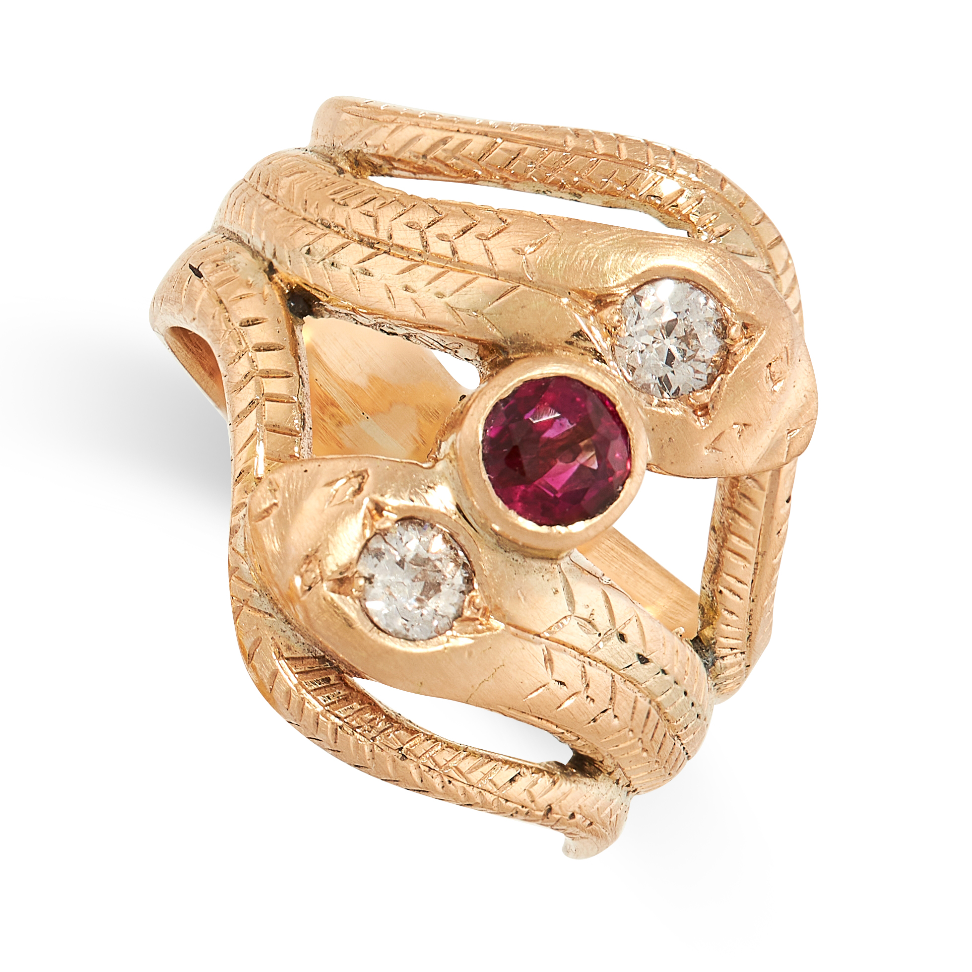 A RUBY AND DIAMOND SNAKE RING in yellow gold, the band designed as two snakes, coiled around each
