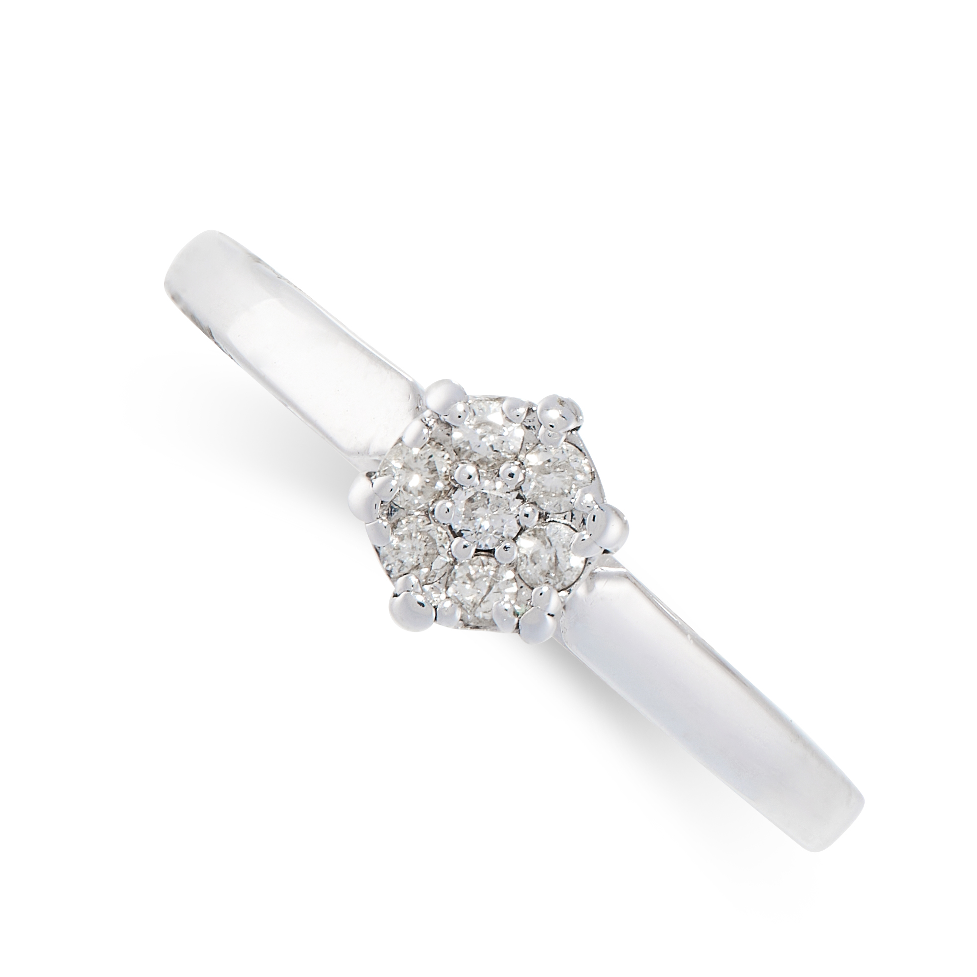 A DIAMOND RING in 18ct white gold, in cluster design, set with seven round cut diamonds, stamped