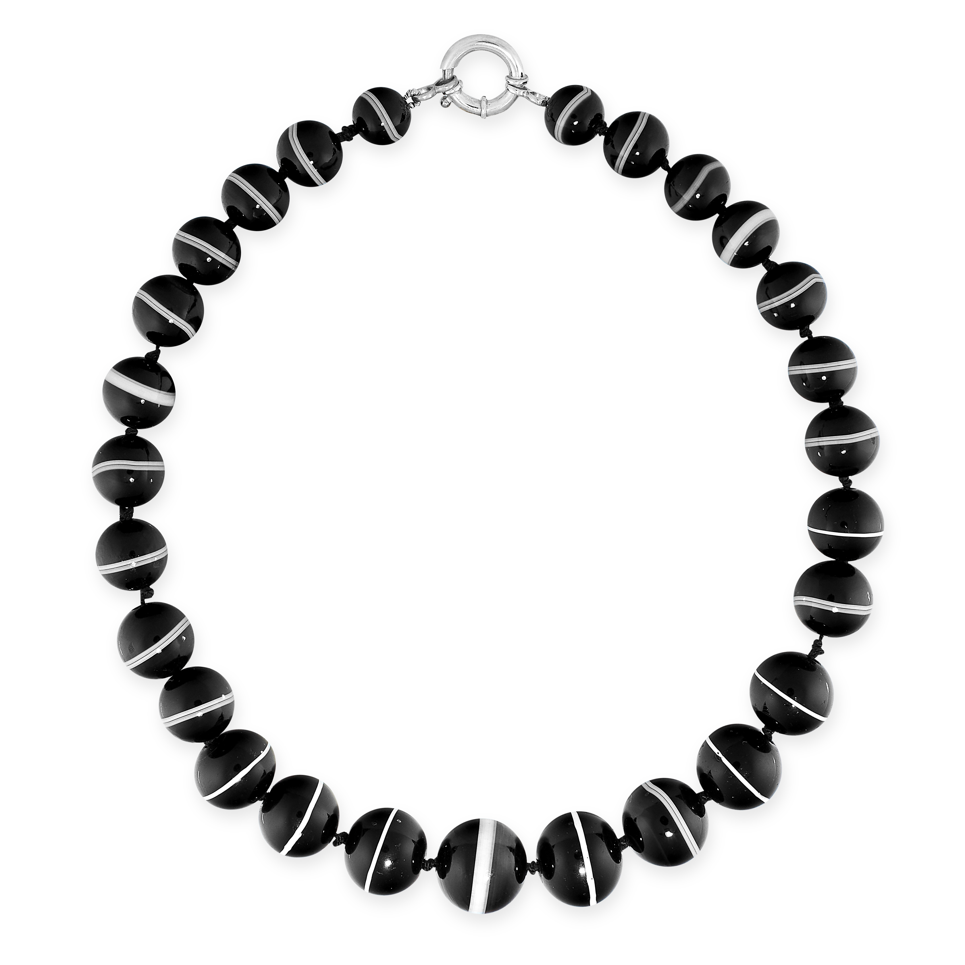 A BANDED AGATE BEAD NECKLACE comprising a single row of twenty-seven graduated black banded agate