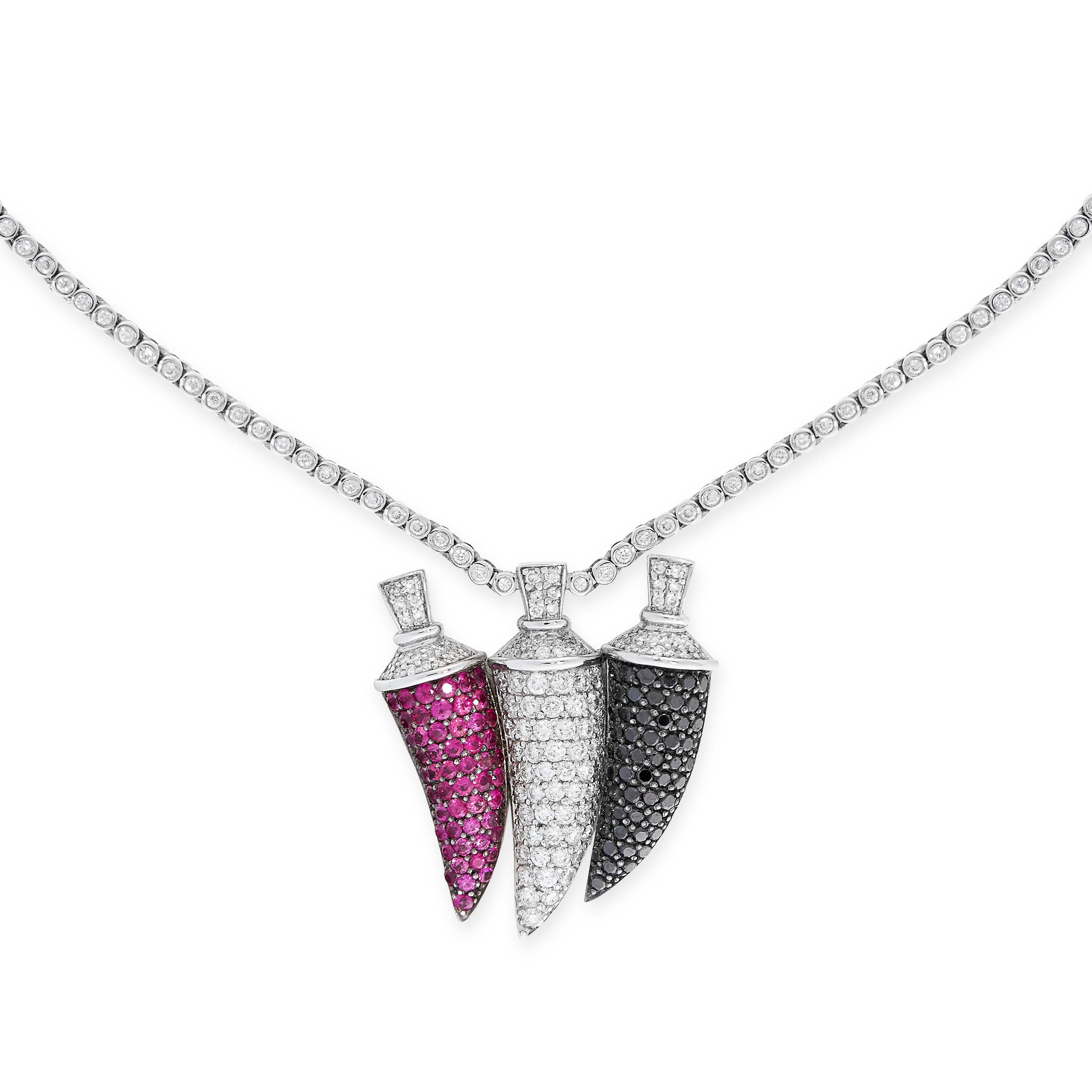 A RUBY, BLACK DIAMOND AND WHITE DIAMOND PENDANT NECKLACE in 18ct white gold, designed to depict a