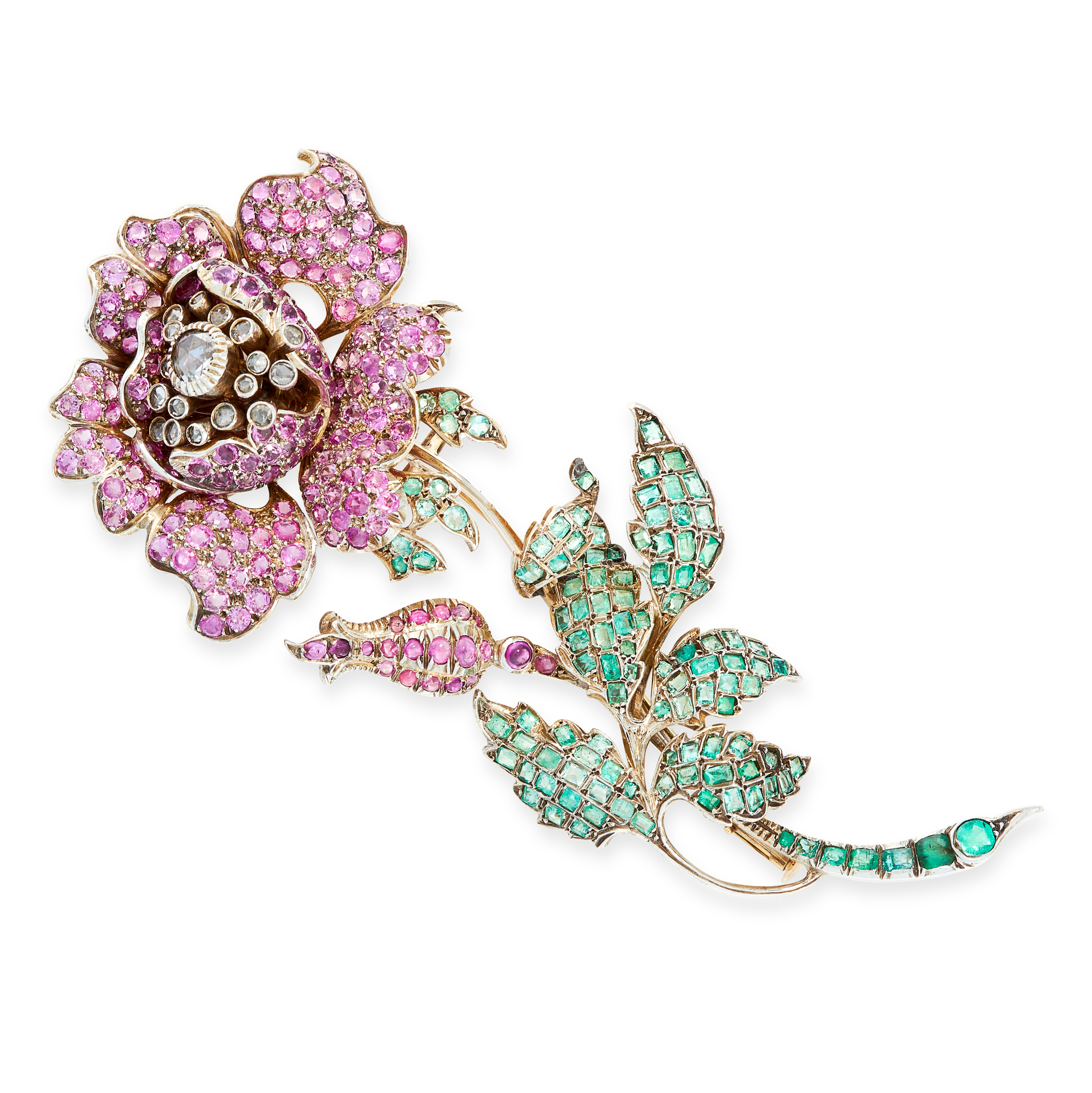 A BURMA NO HEAT PINK SAPPHIRE, EMERALD AND DIAMOND BROOCH in yellow gold and silver, designed as a
