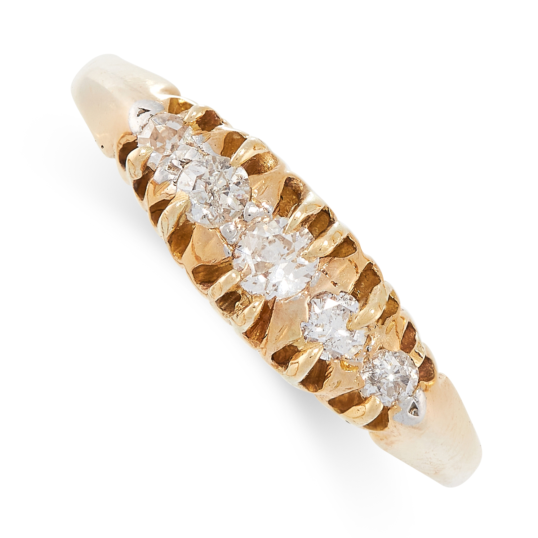 A DIAMOND RING set with five round cut diamonds, stamped FINE PLAT, size P / 7.5, 3.0g.