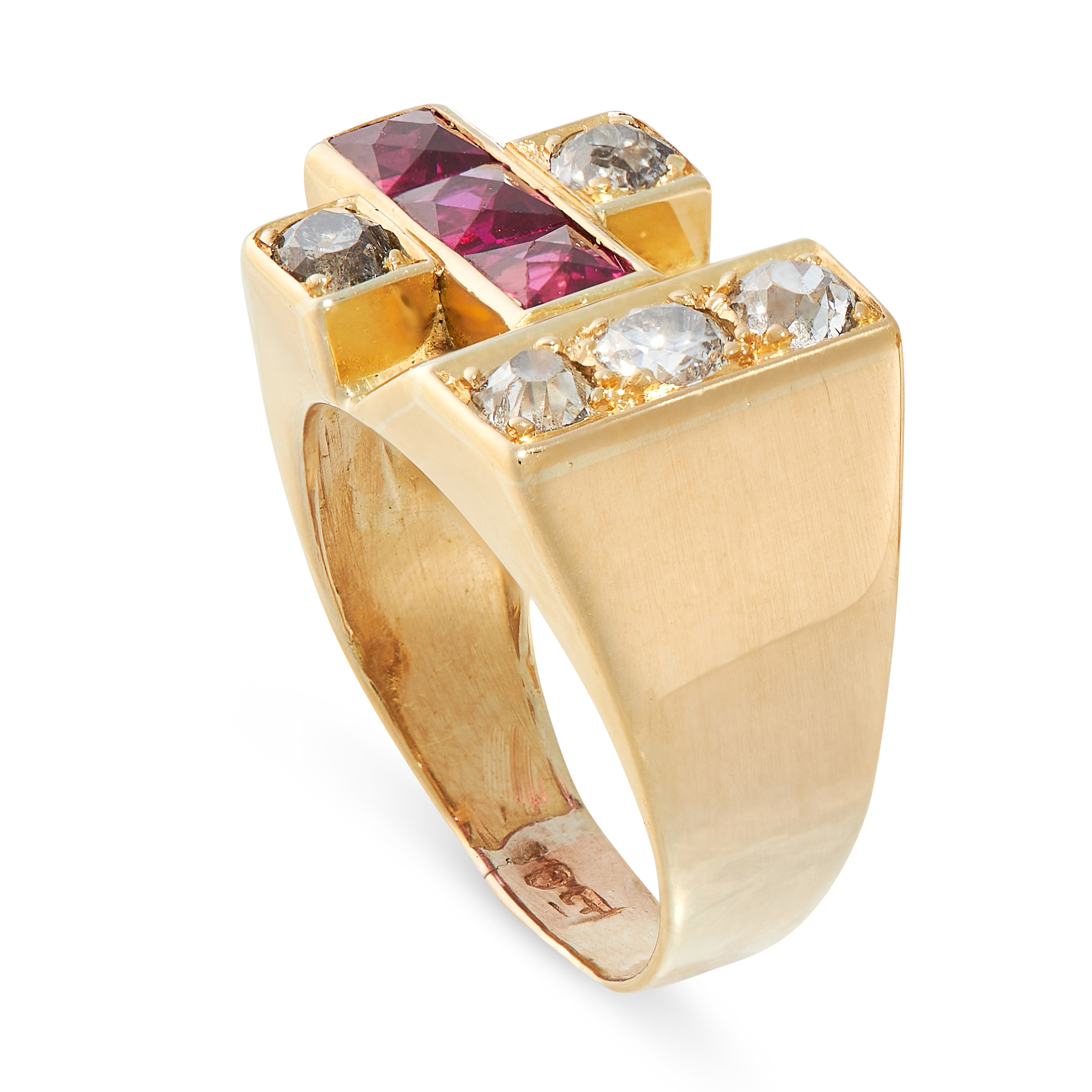 A RETRO DIAMOND AND RUBY RING in 18ct yellow gold, set with three French cut synthetic rubies and - Image 2 of 2