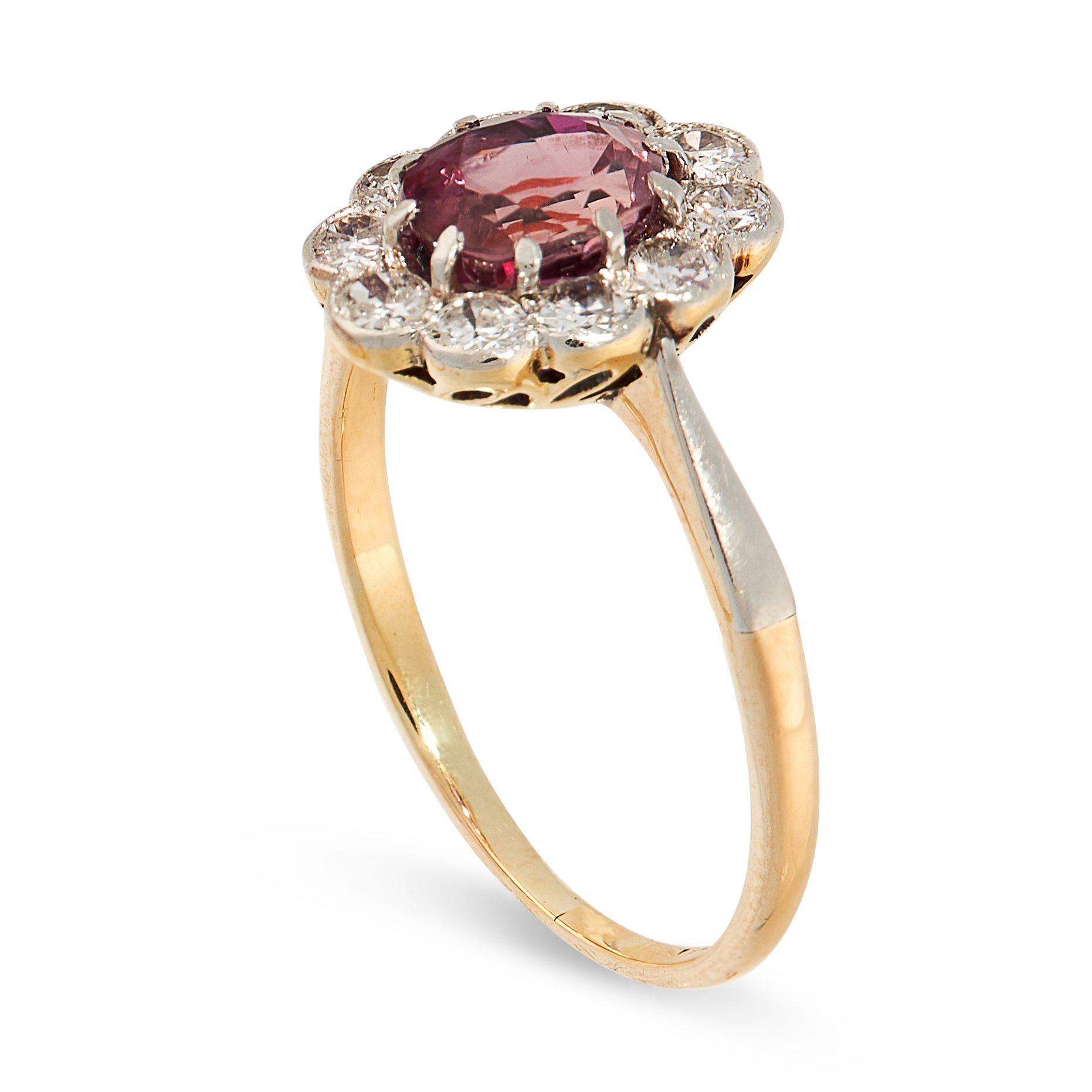 AN UNHEATED RUBY AND DIAMOND RING in 18ct yellow gold, set with an oval cut ruby of 1.42 carats, - Image 2 of 2
