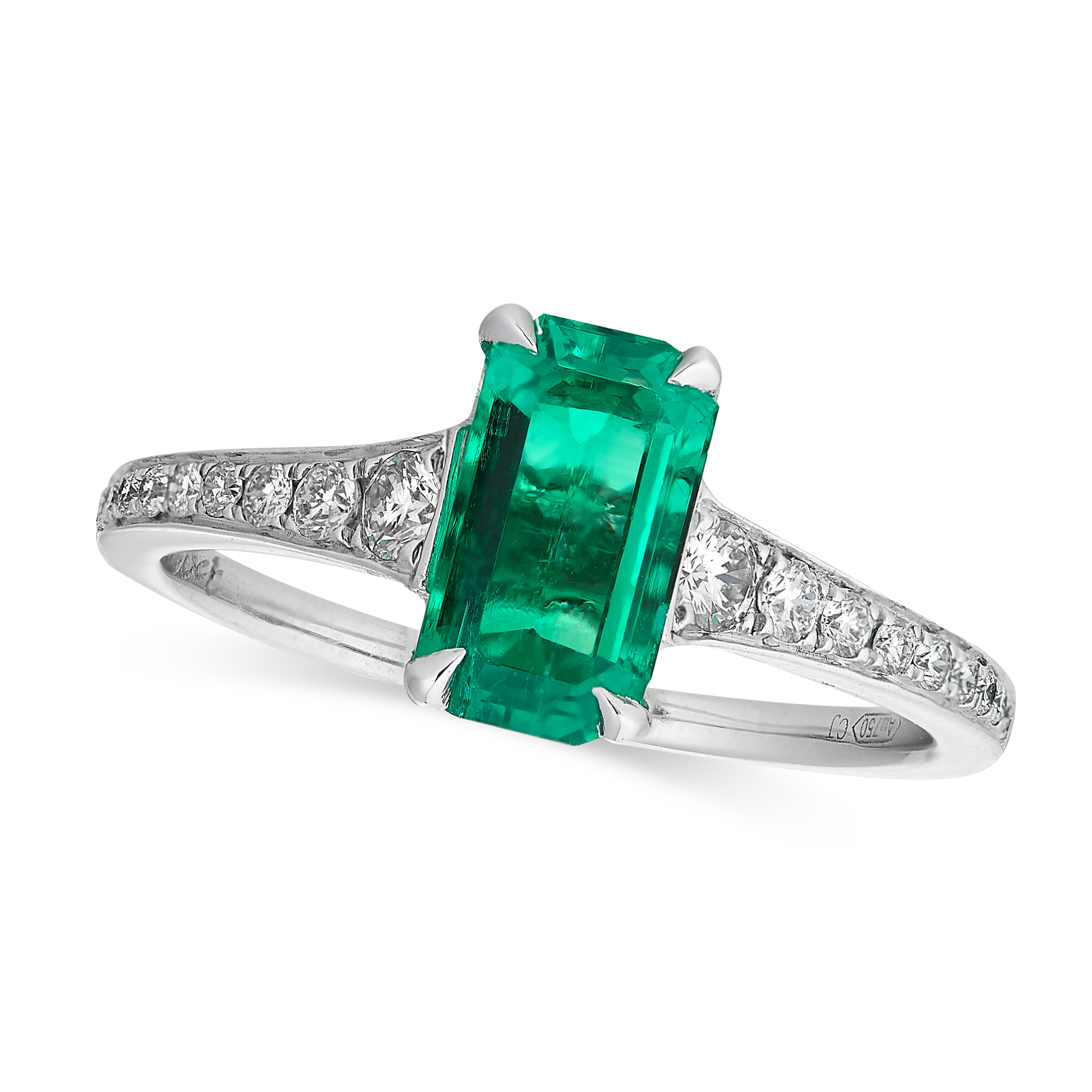 A COLOMBIAN EMERALD AND DIAMOND RING in 18ct white gold, set with an emerald cut emerald of 1.42