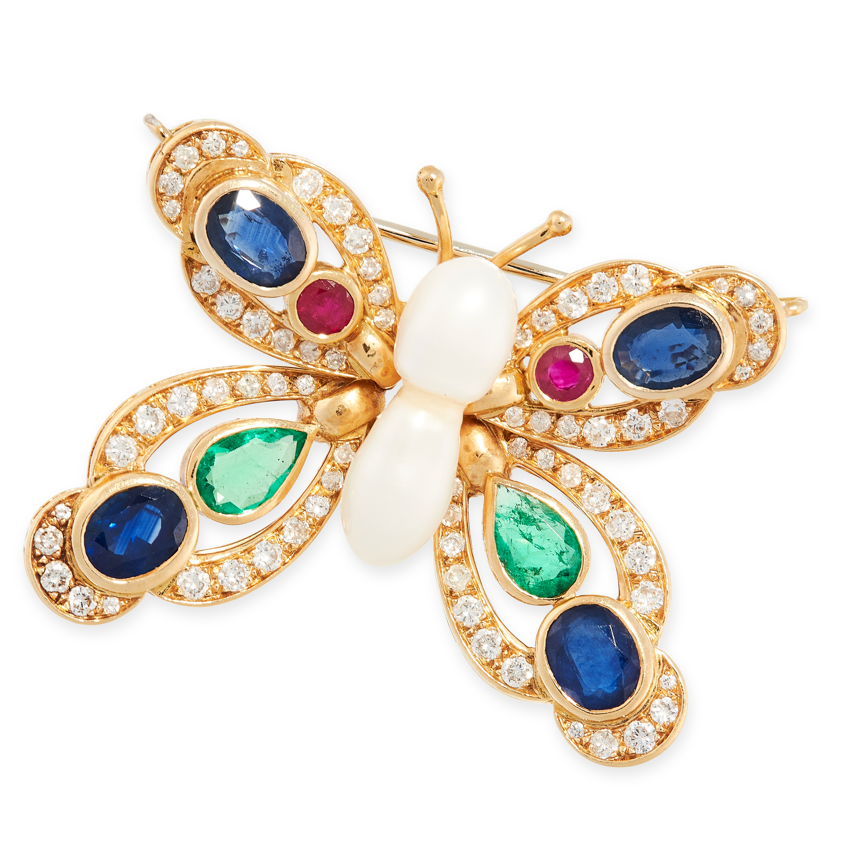 A PEARL, SAPPHIRE, RUBY, EMERALD AND DIAMOND BUTTERFLY BROOCH in 18ct yellow gold, designed as a