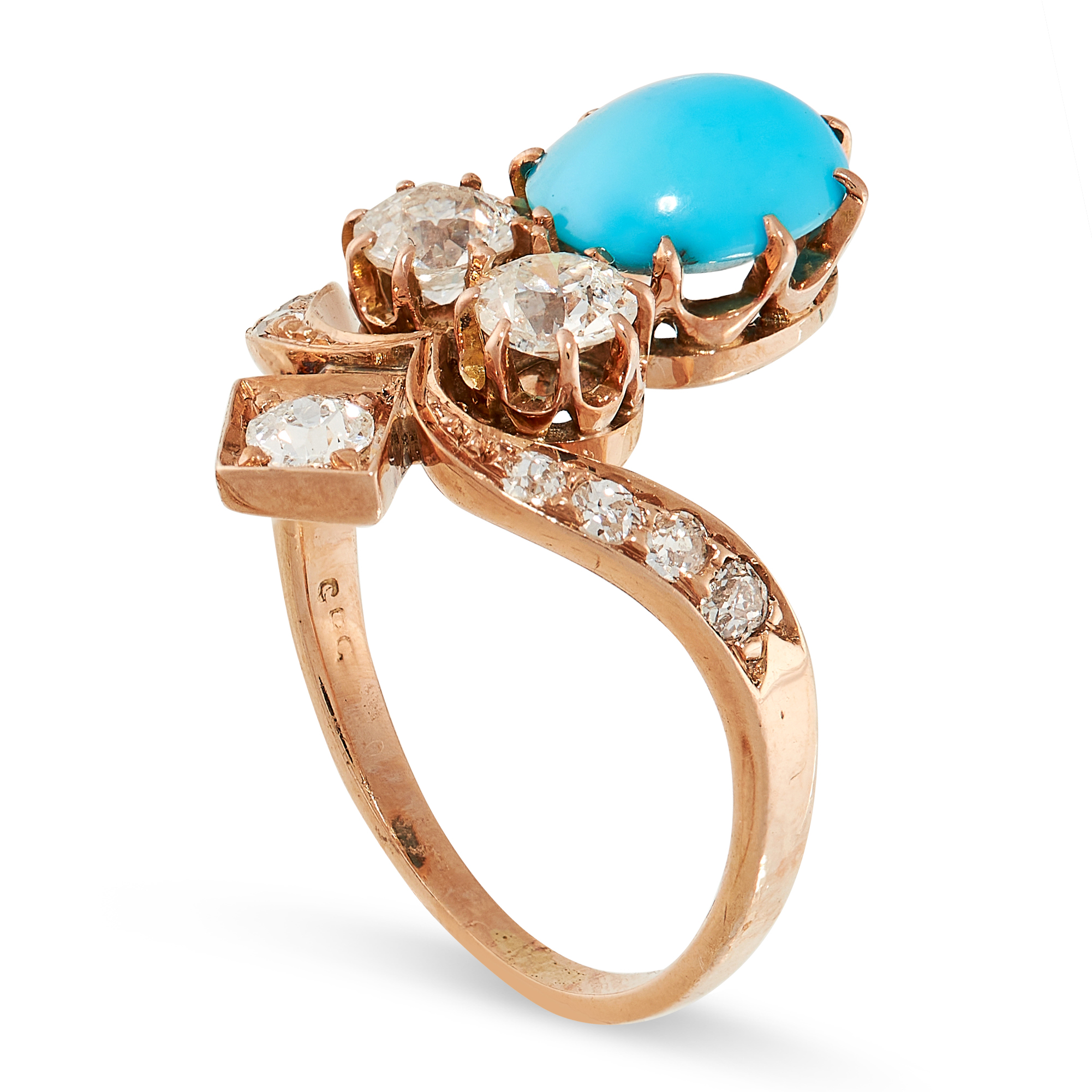 AN ANTIQUE TURQUOISE AND DIAMOND TIARA RING in yellow gold, the stylised band set with old cut - Image 2 of 2
