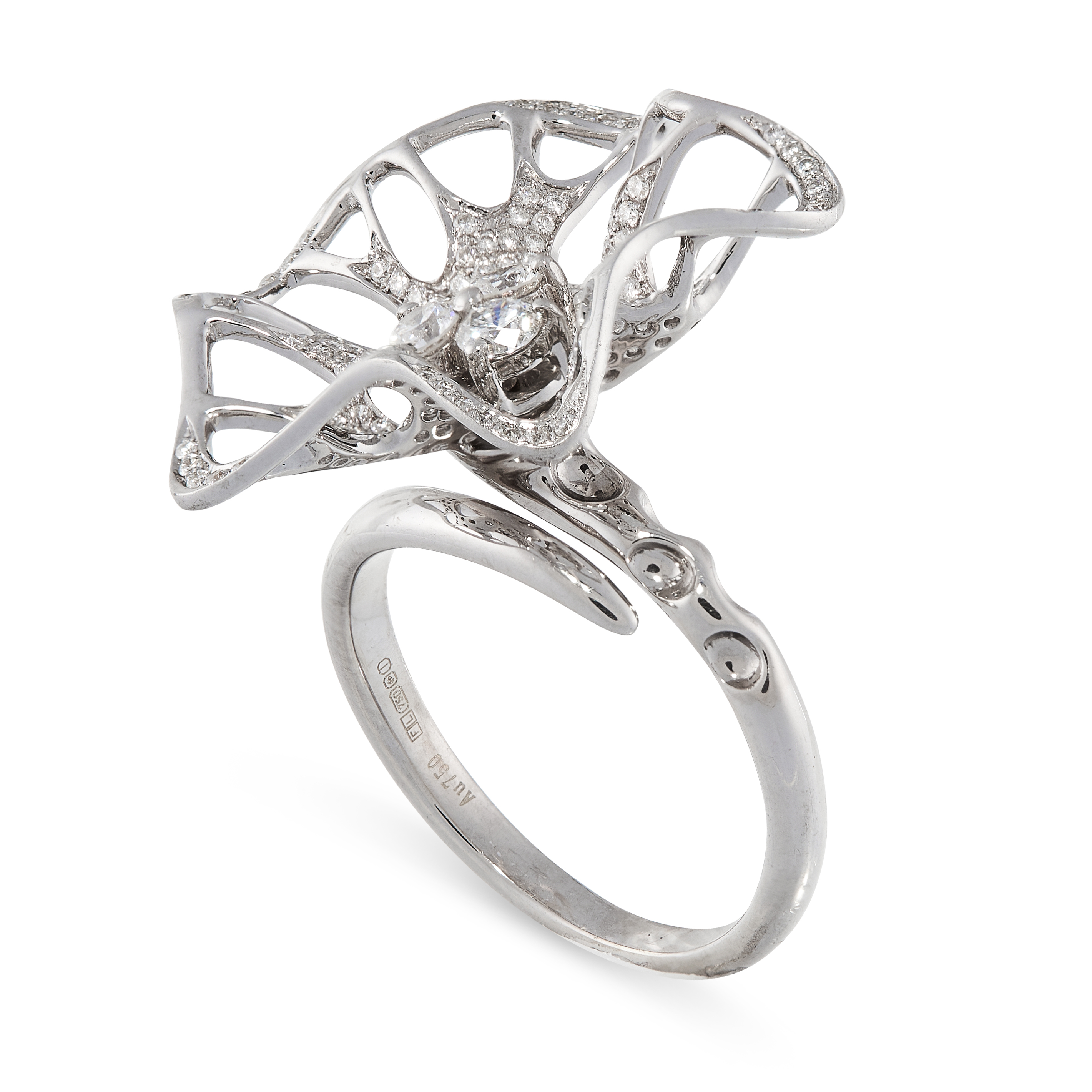 A DIAMOND RING in 18ct white gold, designed as an abstract flower, set with a central trio of - Image 2 of 2