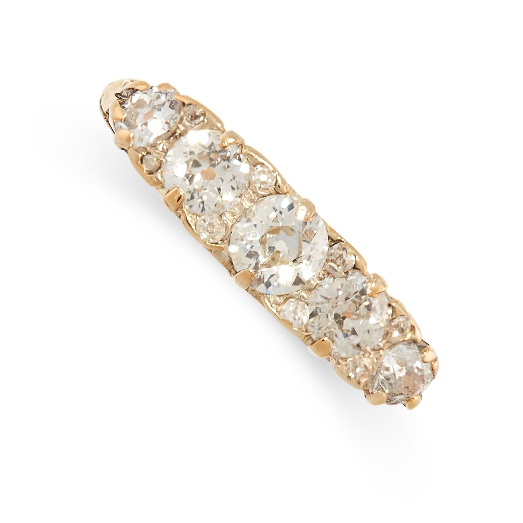 A DIAMOND FIVE STONE RING in 18ct yellow gold, the band set with five graduated old cut diamonds