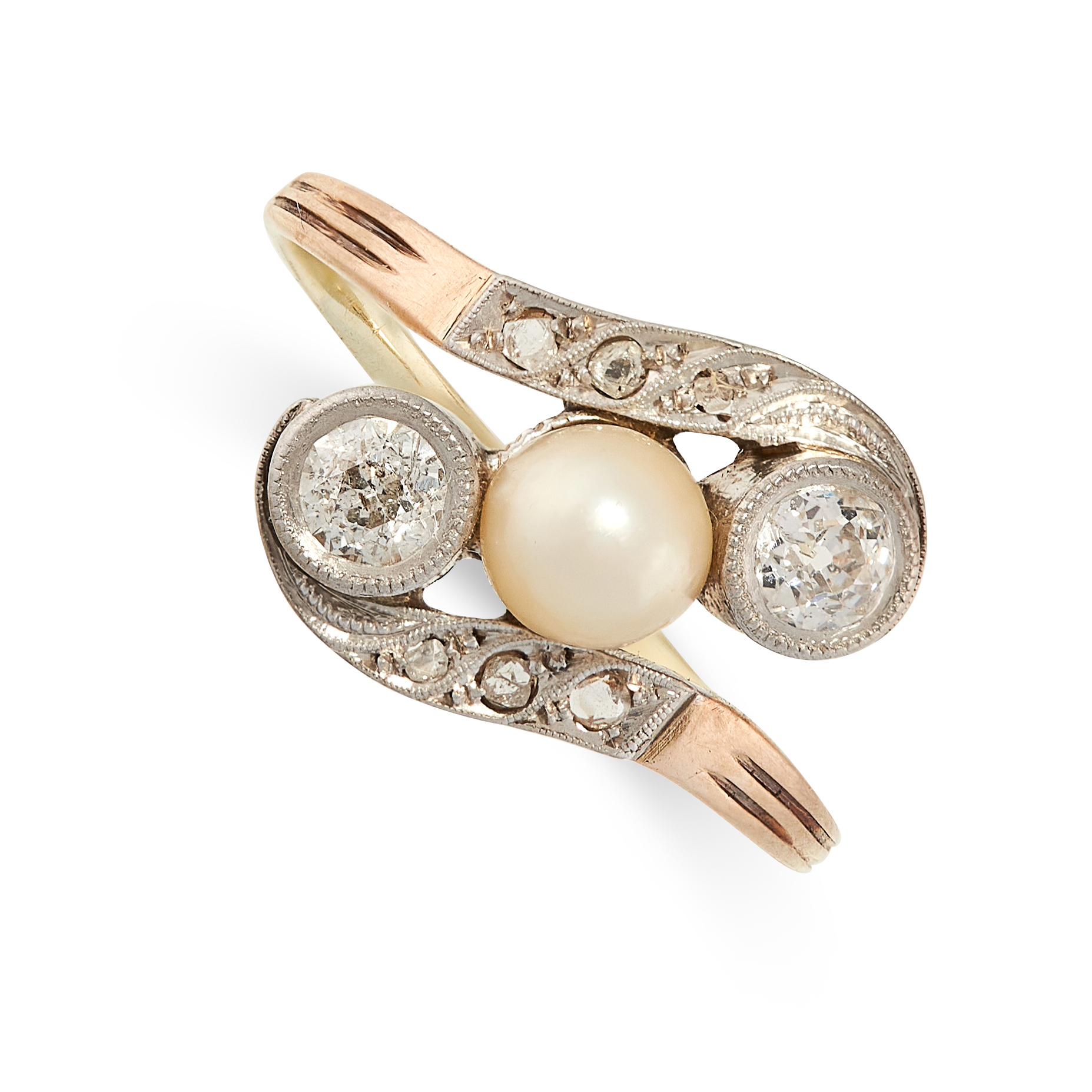 A PEARL AND DIAMOND DRESS RING, CIRCA 1940 in 14ct yellow gold, of twisted design, set with a