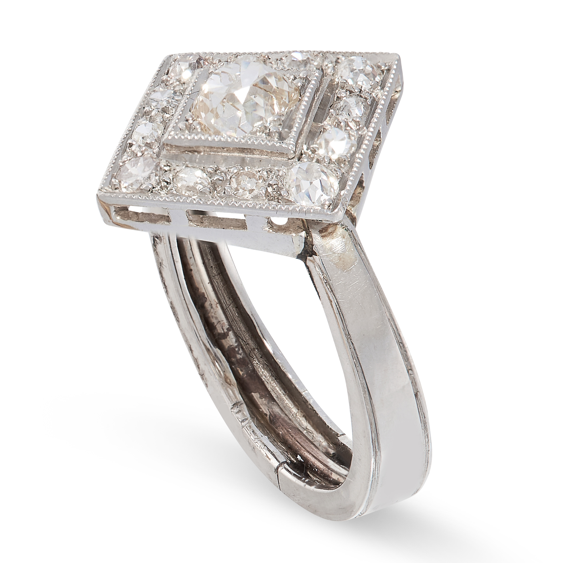 A DIAMOND DRESS RING the square face set with a central old cut diamond of 0.56 carats, within a - Image 2 of 2