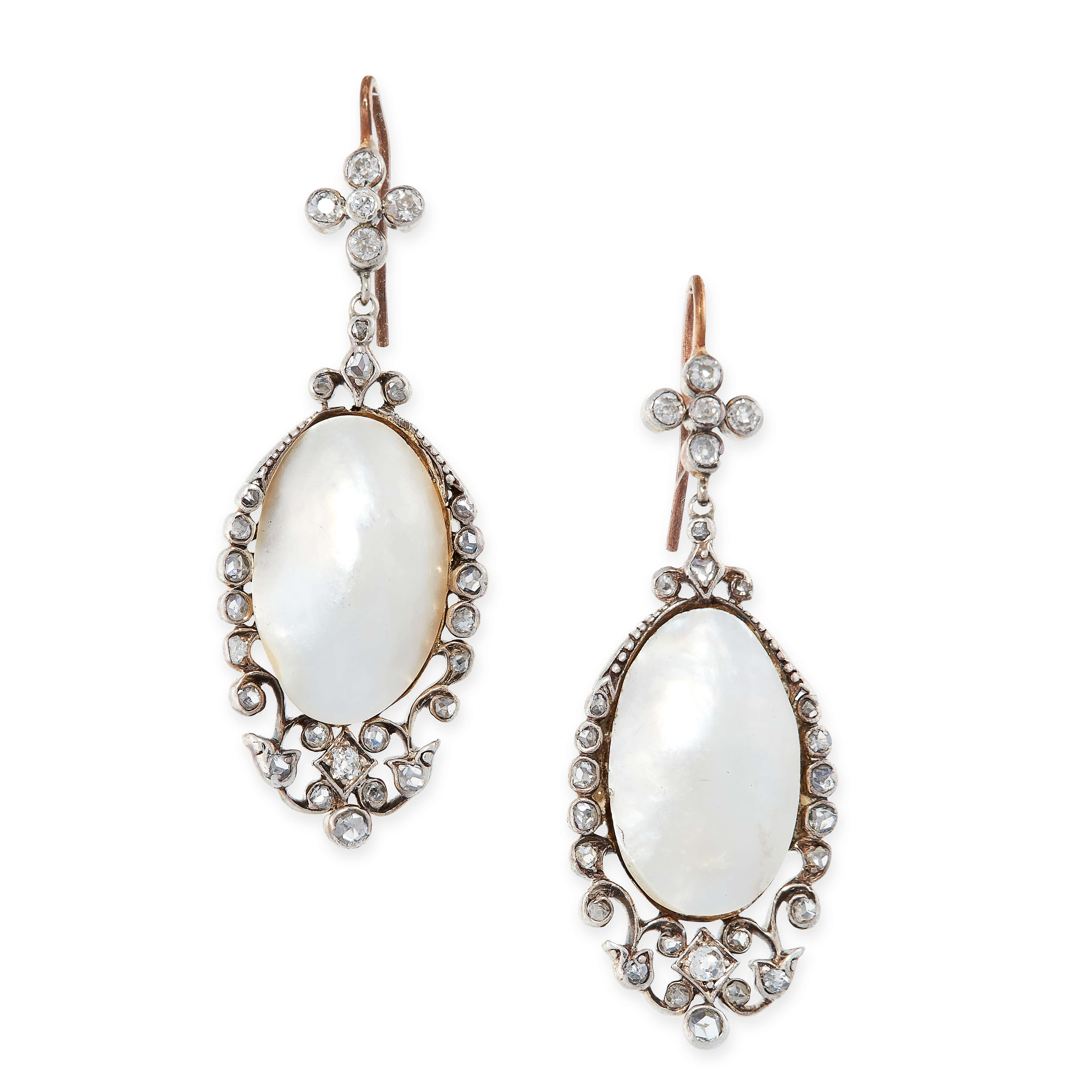 A PAIR OF ANTIQUE PEARL AND DIAMOND EARRINGS in yellow gold and silver, each set with a drop