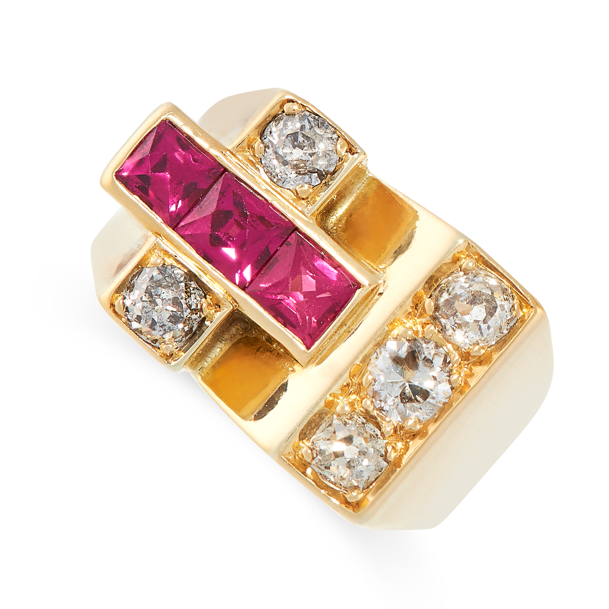 A RETRO DIAMOND AND RUBY RING in 18ct yellow gold, set with three French cut synthetic rubies and