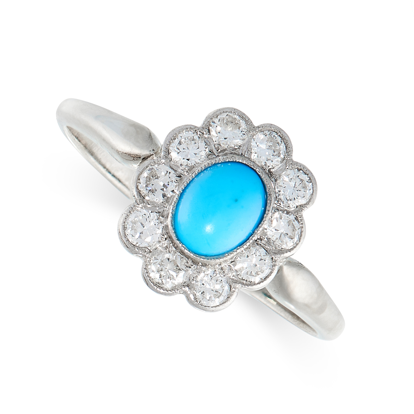 A VINTAGE TURQUOISE AND DIAMOND DRESS RING in 14ct white gold, set with an oval cabochon turquoise